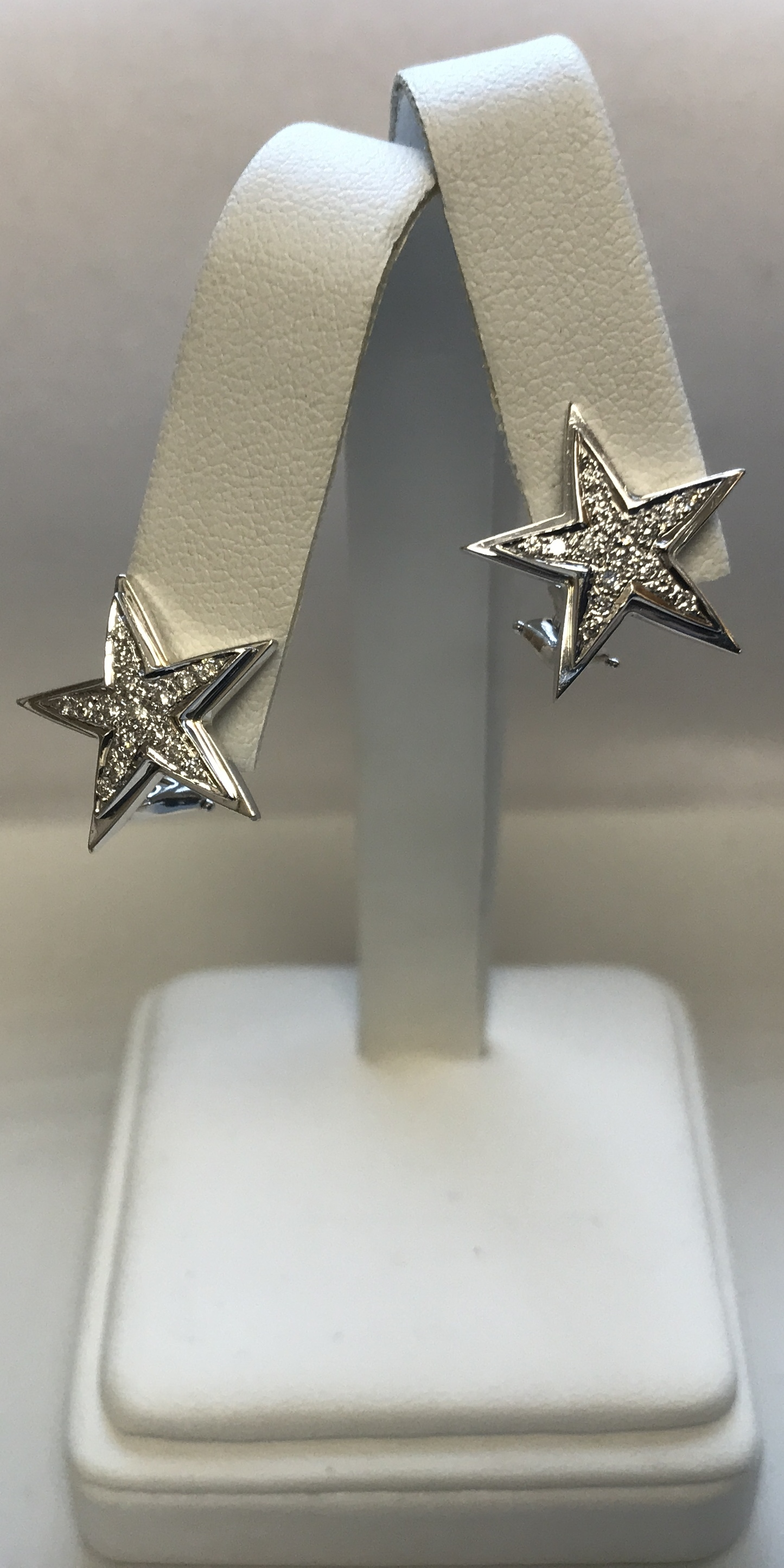18k White Gold Diamond Star Earring Studs