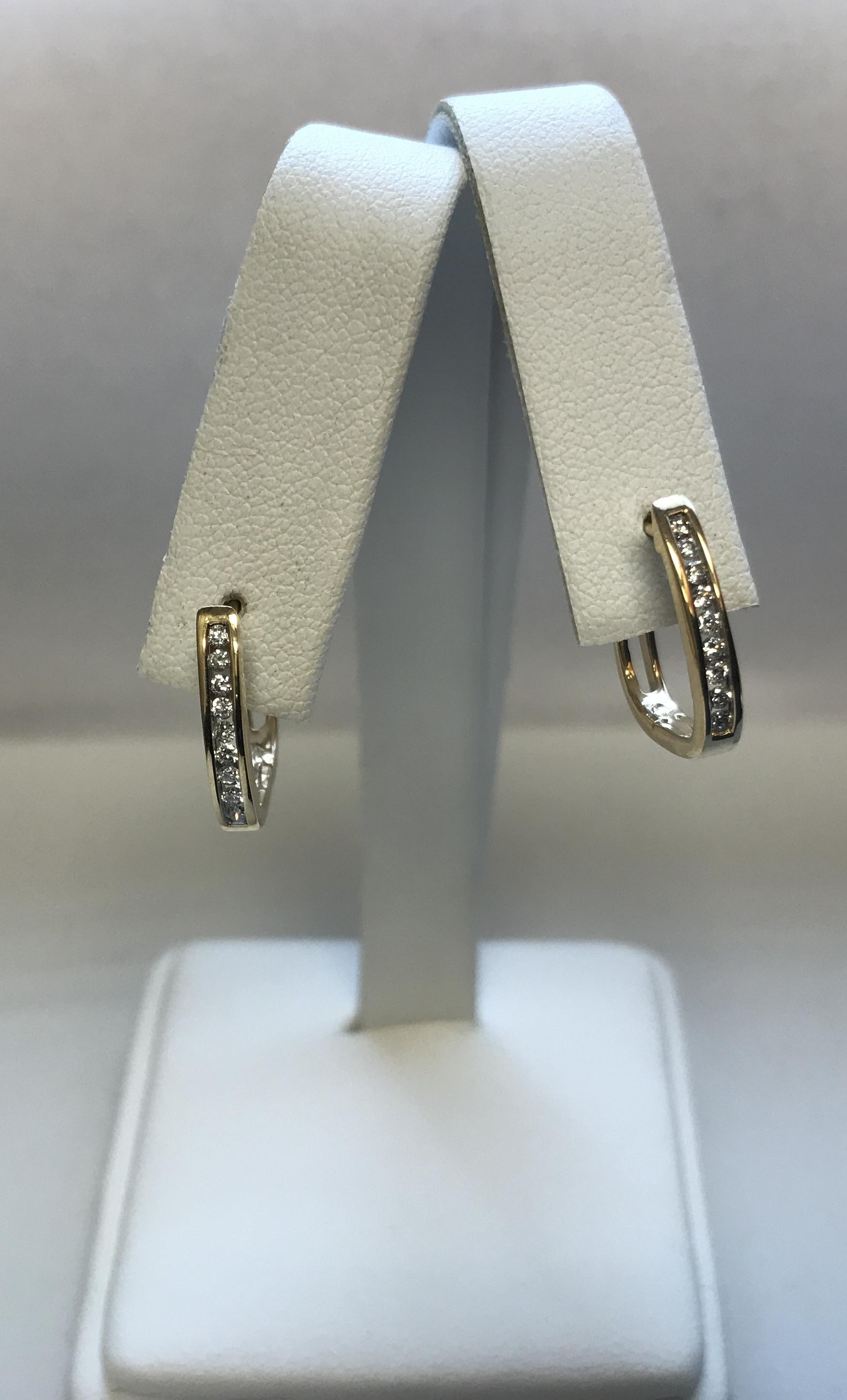 Diamond Hoop Earrings - 14k Gold Channel Set Round Cut Pierced
