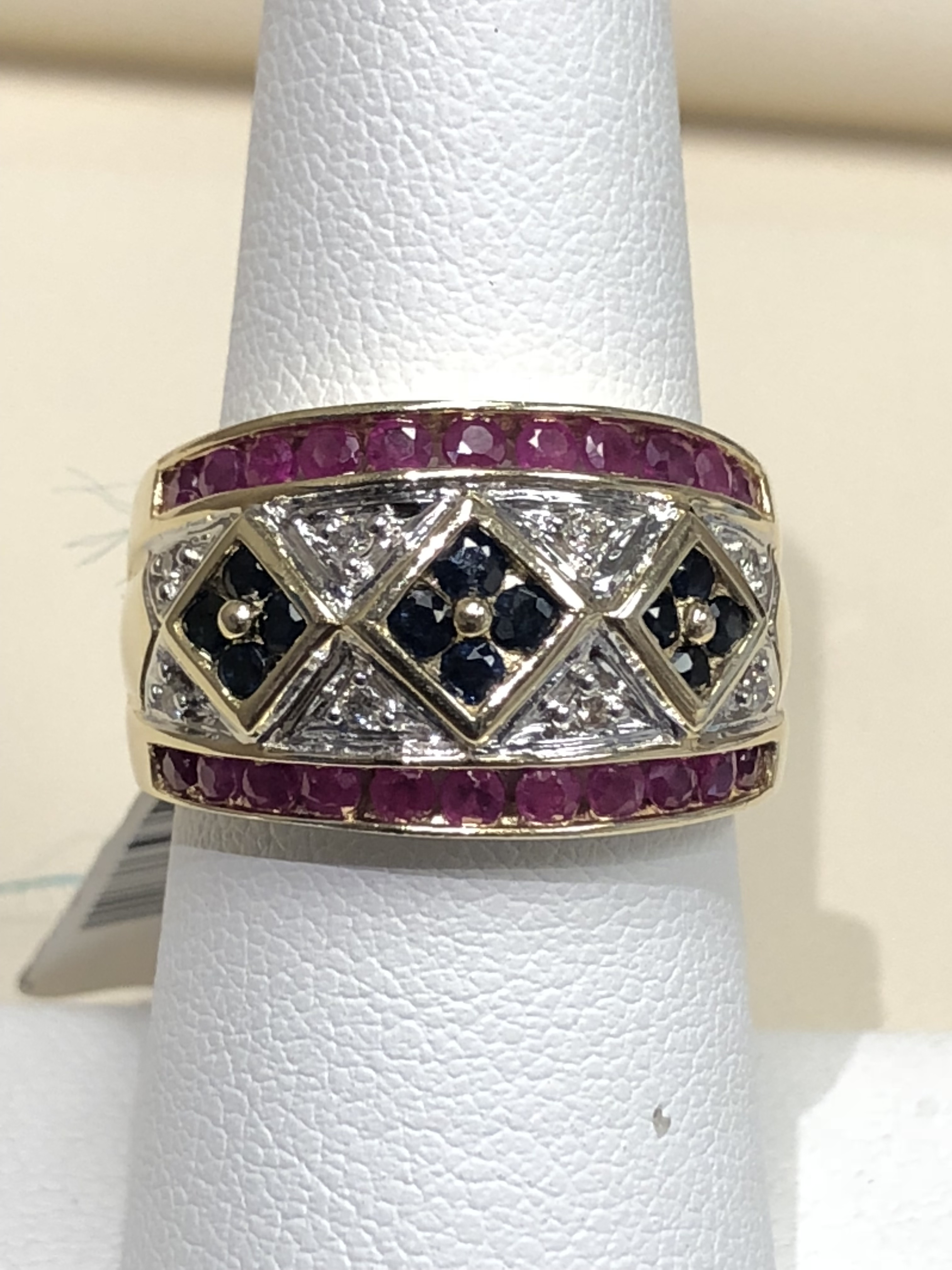 14K Yellow & White Gold 6.9g Band Ring with Diamonds, Sapphires and Rubies