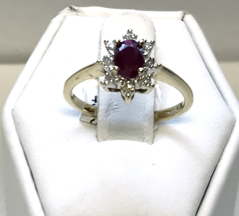 Fashion Ruby Ring with Diamonds 10K Yellow gold 2.1g