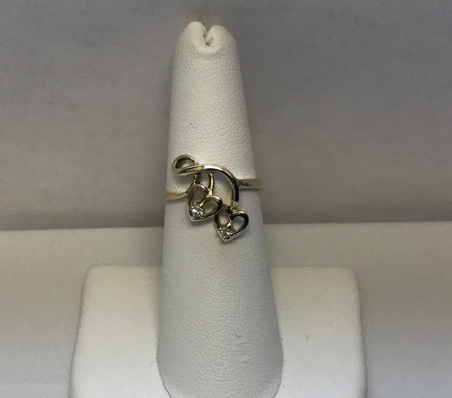 2 Heart Ring with 2 Diamonds 14K Yellow Gold 2.4g