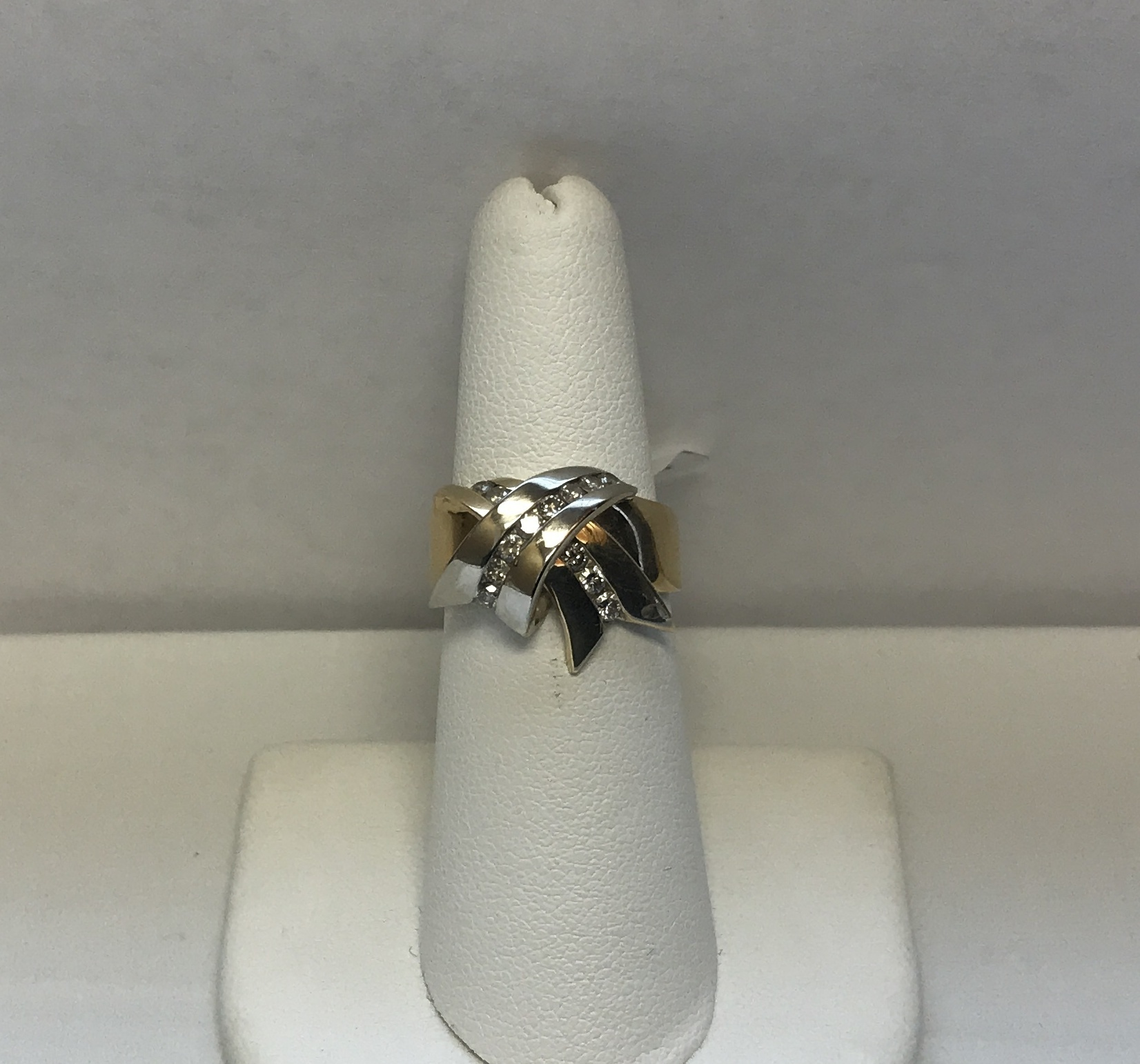 Lady's Bow Ring with Diamonds 14K Yellow & White Gold 6.1g