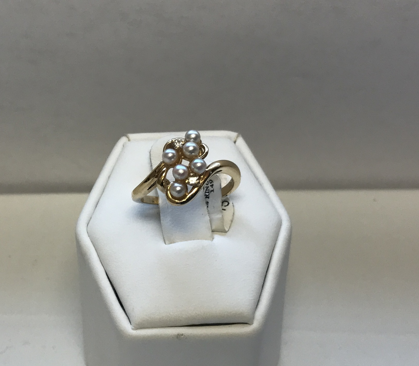 Diamonds & Pearl Ring 14K Yellow Gold 3g