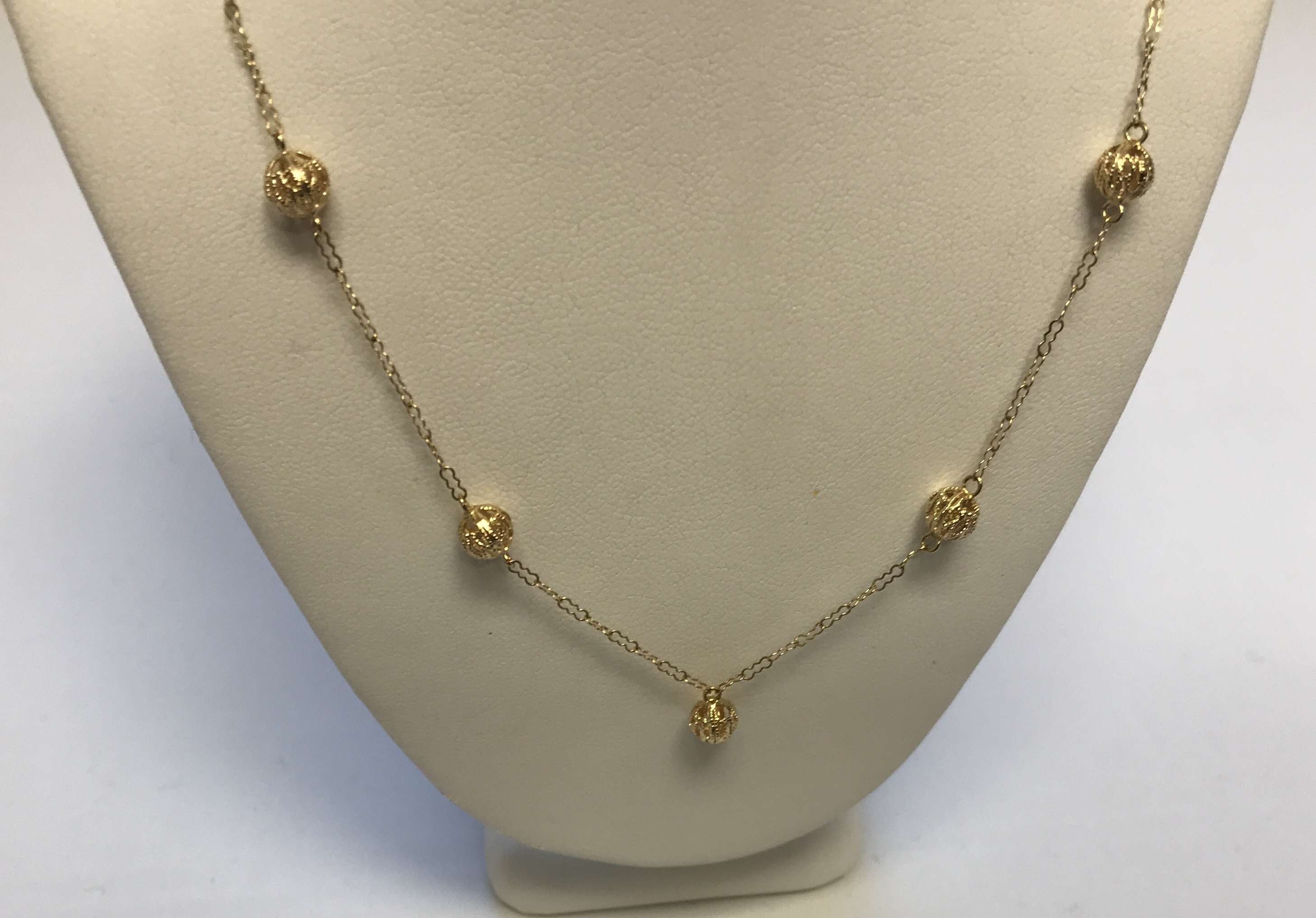 Hollow Gold Balls Link Necklace 10K Yellow Gold 1.7g