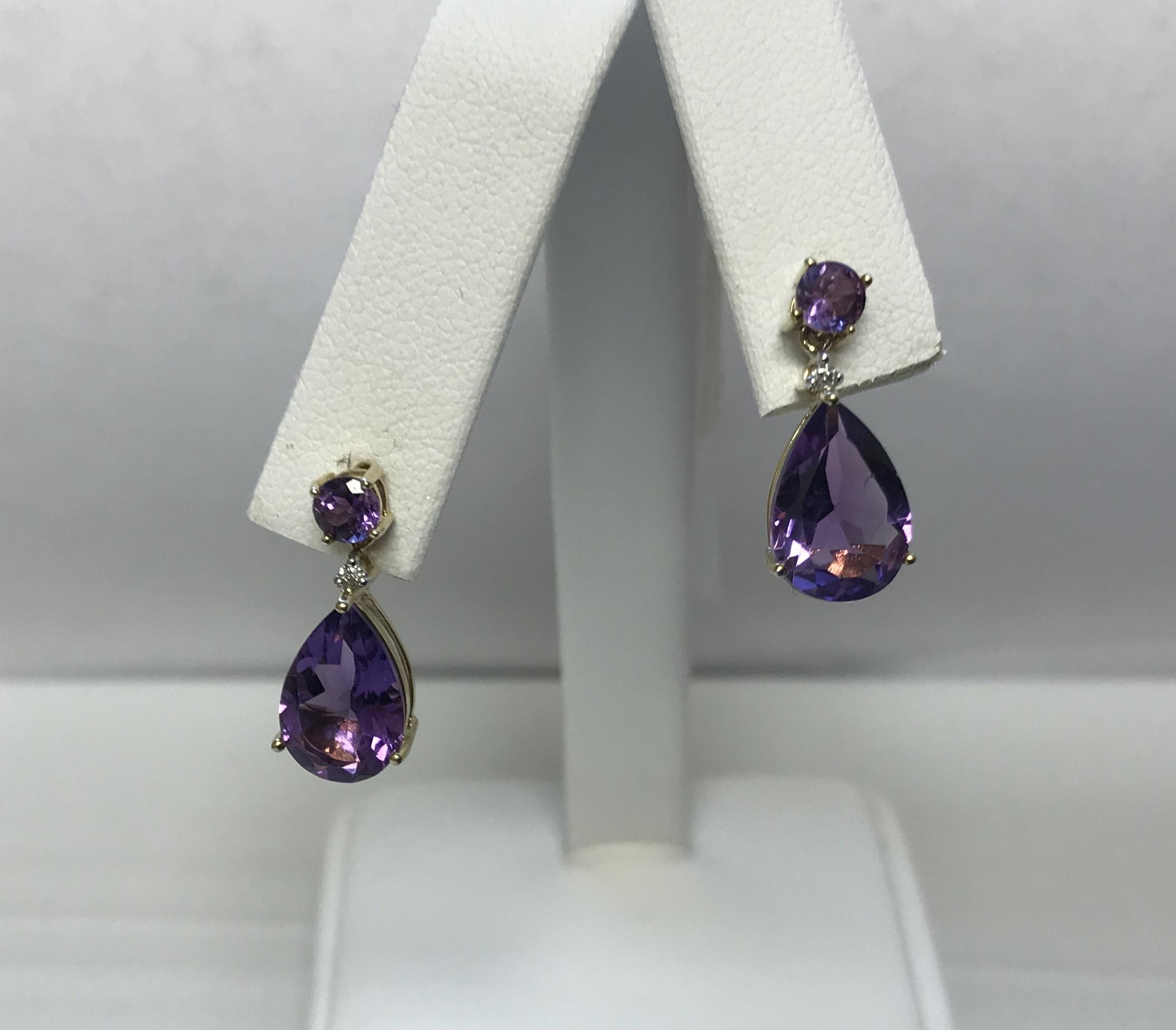 Diamonds & Purple Stone Teardrop Earrings 10K Yellow Gold 2.8g