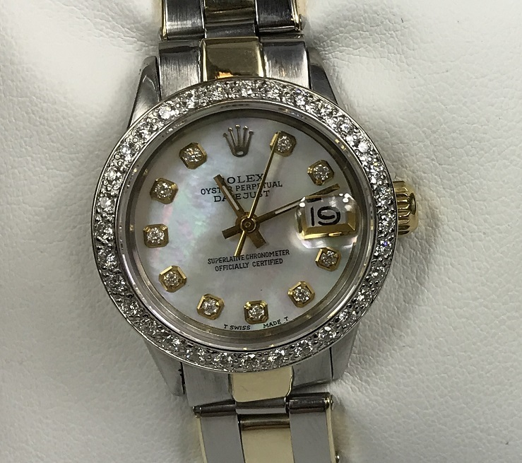 Womens Rolex Datejust 2-Tone Gold/Steel 25mm Watch Opal MOP Diamond Dial & Bezel