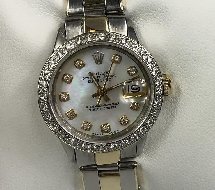 Womens Rolex Datejust 2-Tone Gold/Steel 25mm Watch Opal MOP Diamond Dial & Bezel