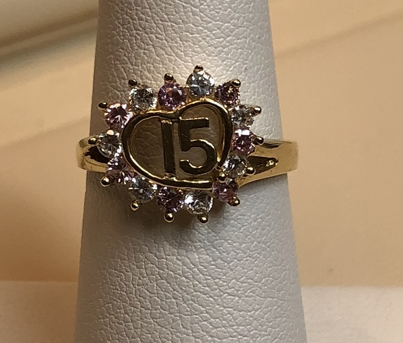 Quinceanera Ring with Clear & Pink Stones 14K Yellow Gold 3.4g