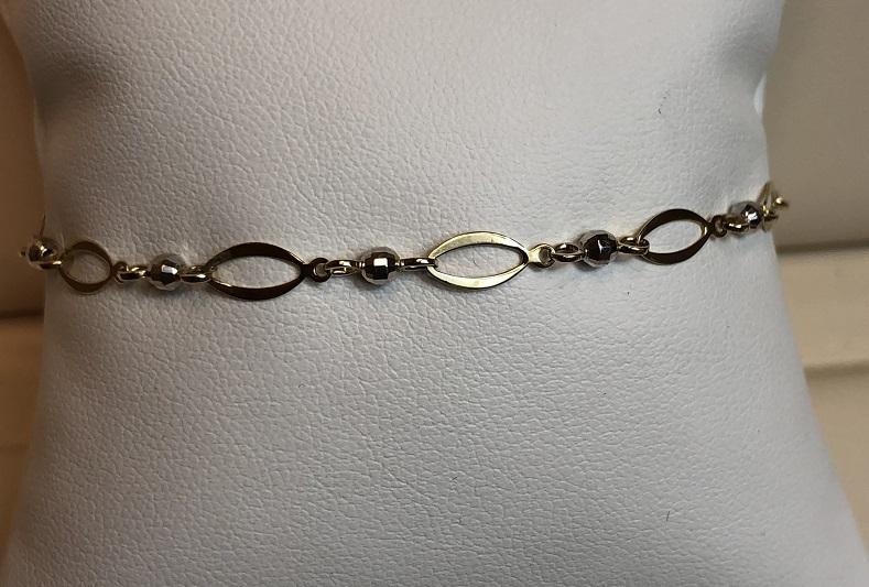 Ankle Bracelet 14K Yellow & White Gold 3.6g