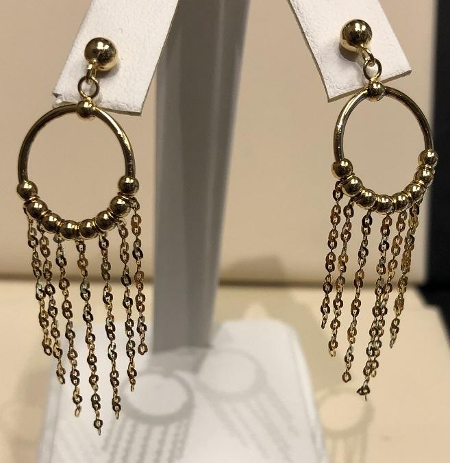Dangle Earrings pierced 14K Yellow Gold 2.6g