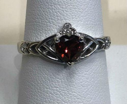 Fashion Ring with Amber Stone & Diamonds 14K White Gold 3.2g