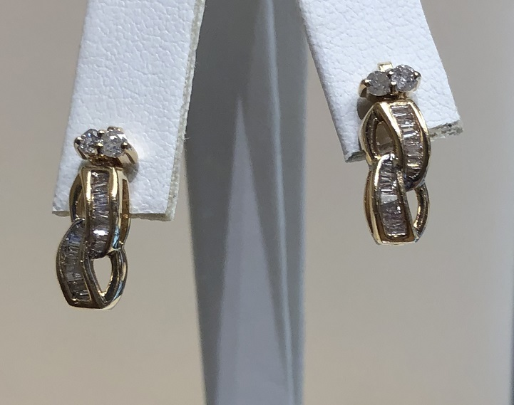 Drop Diamond Stud Earrings 14K Yellow Gold 3g