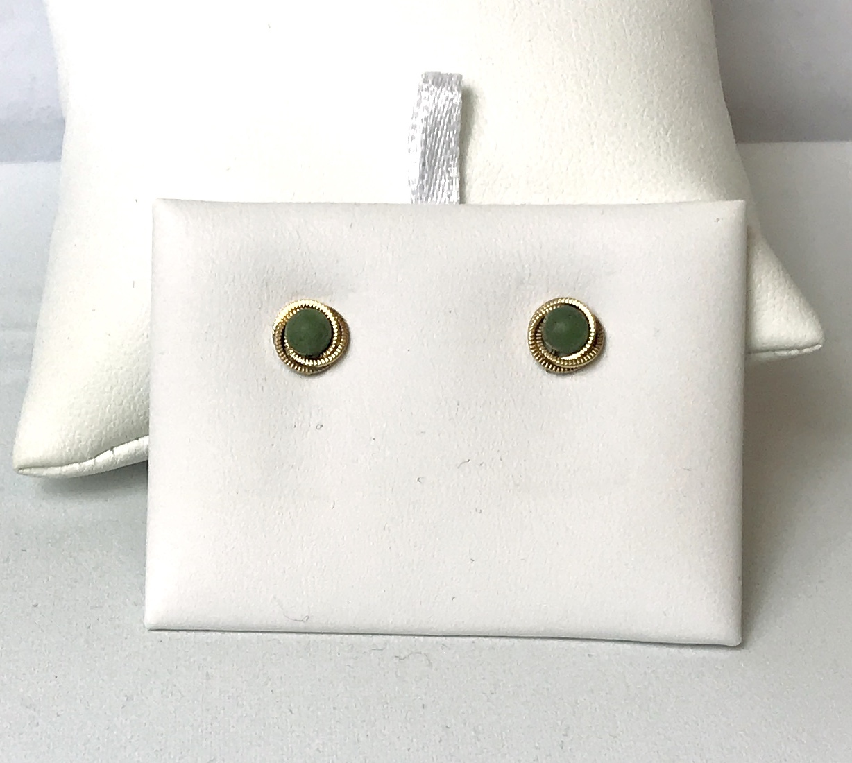 Green Stone Stud Earrings 10K Yellow Gold 1.1g