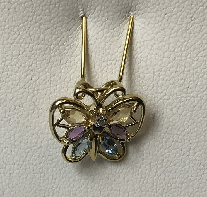 Figural Butterfly Pendant with Multi Color Stones 10K Yellow Gold 1.1g