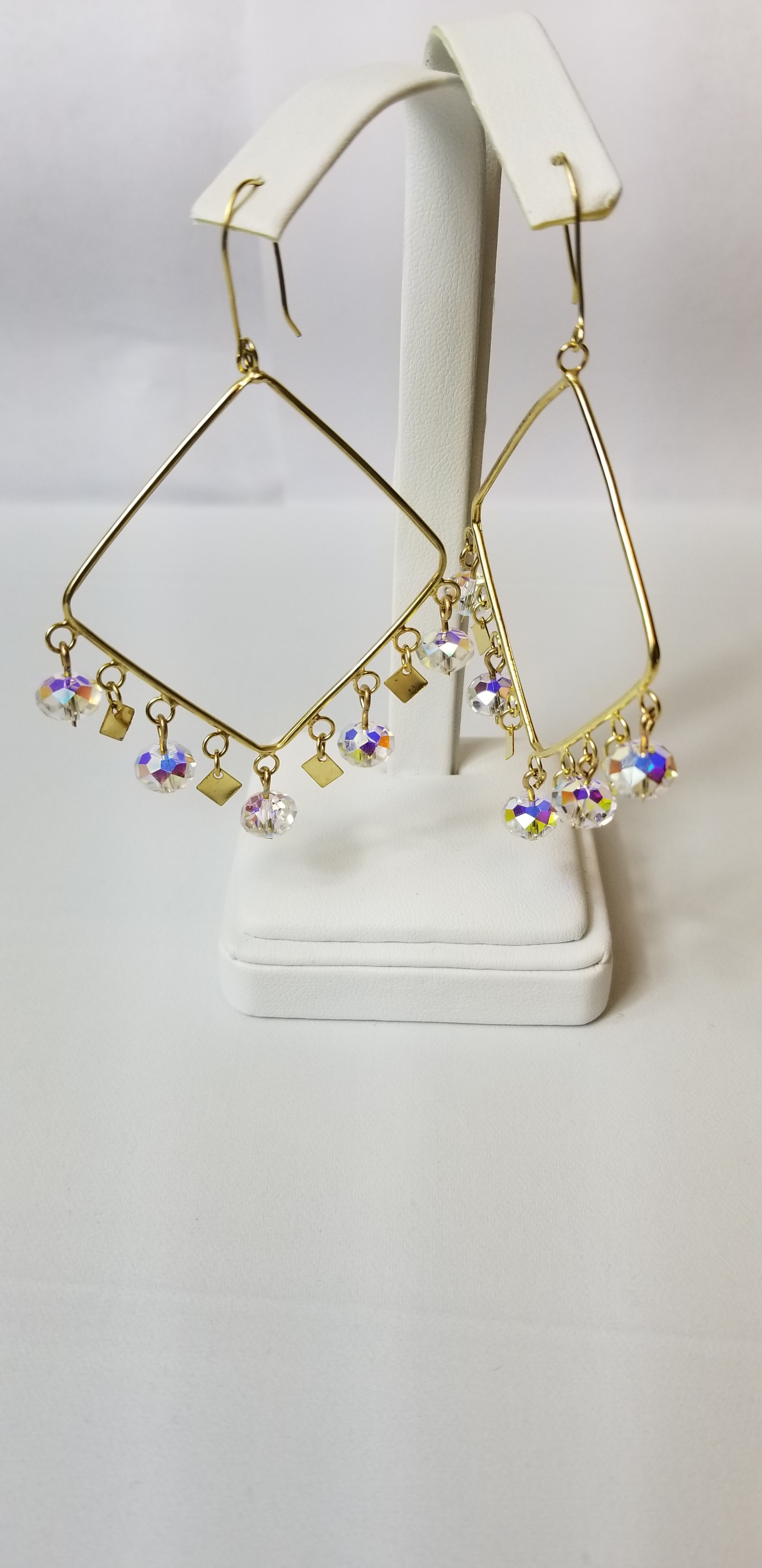 Rectangular Dangle Earrings with Crystal Beads 10K Yellow Gold 9.5g