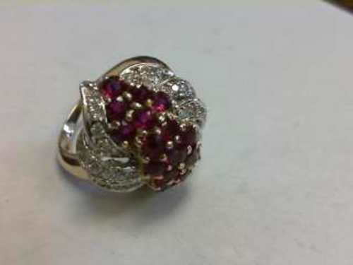 Diamonds & Rubies Ring 14K Yellow Gold 9.6g