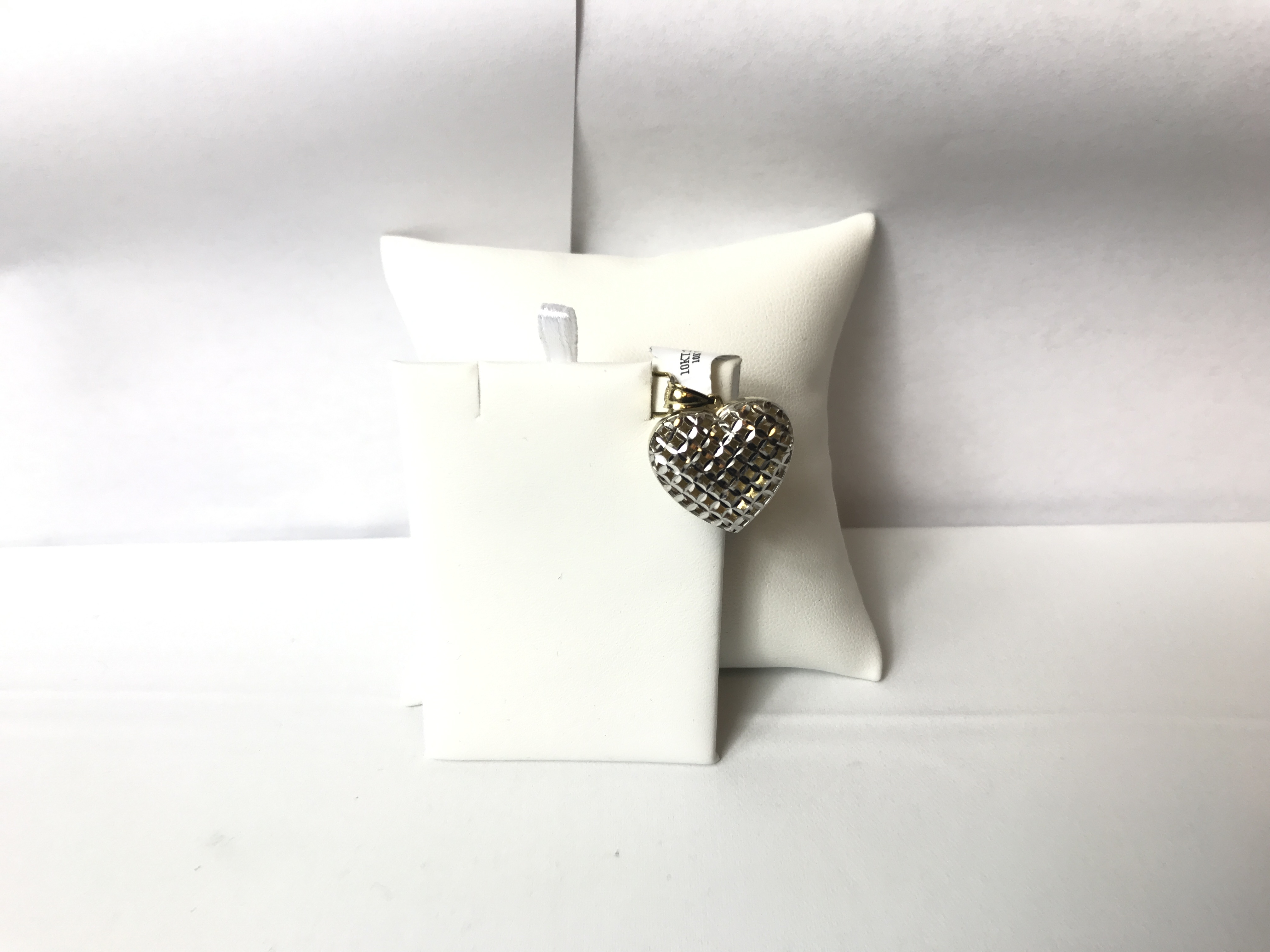 Heart Shaped Pendant Textured Gold 10K Yellow & White Gold 2.3g