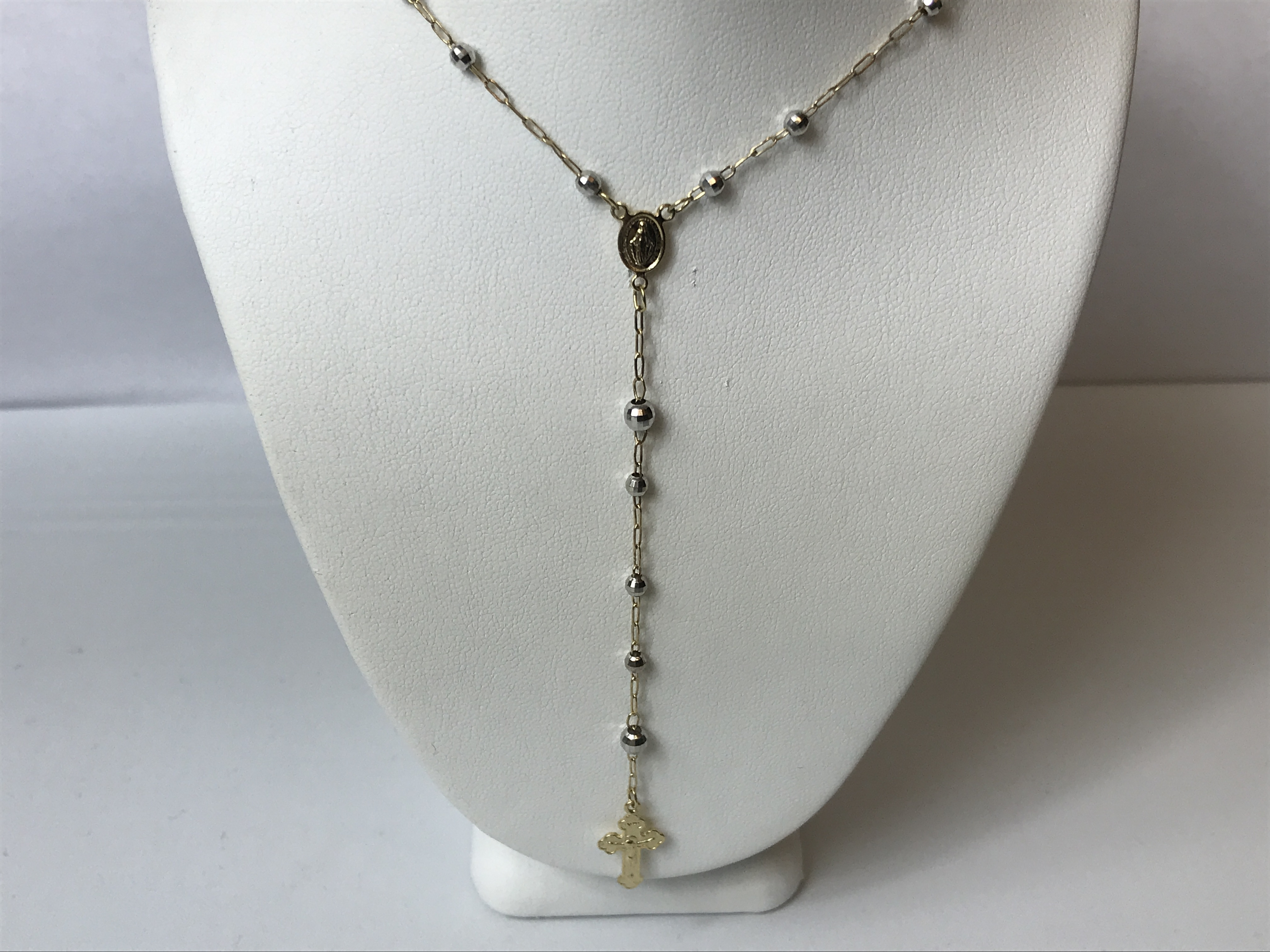 Rosarie Chain Necklace 14K Yellow & White Gold 5.4g