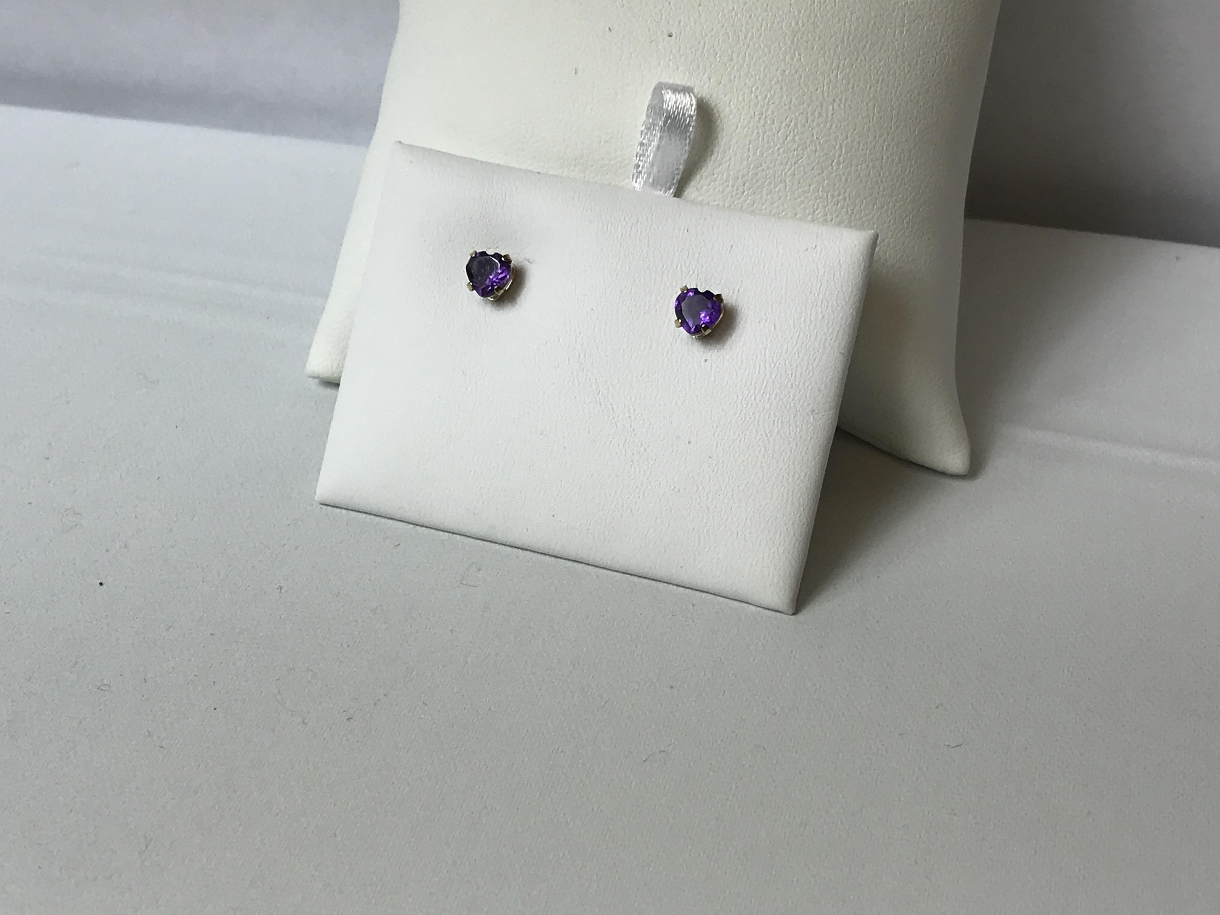 Heart Shaped Purple Stone Stud Earrings 10K Yellow Gold .5g