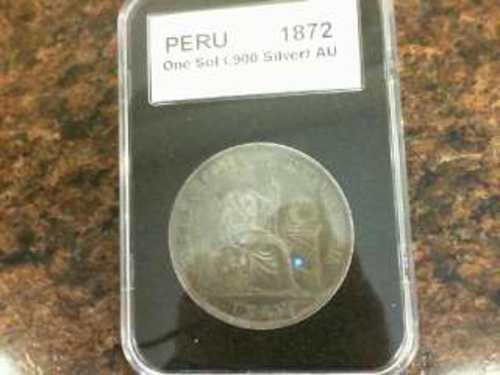 1872 Peru One Sol .90 Silver Coin