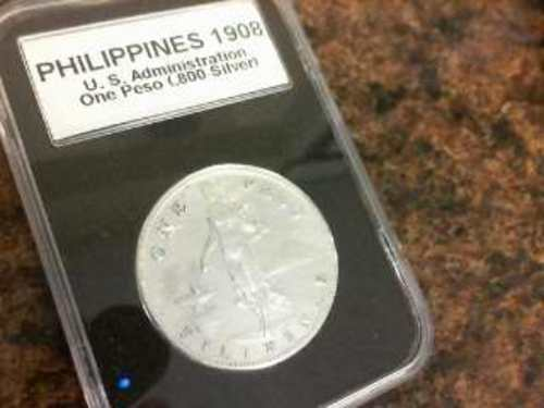 1908 Philippines U.S. Administration One Peso .80 Silver Coin