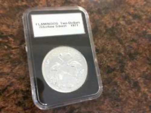 1971 Flamingos Two Dollars Sterling Silver .925 Silver Coin