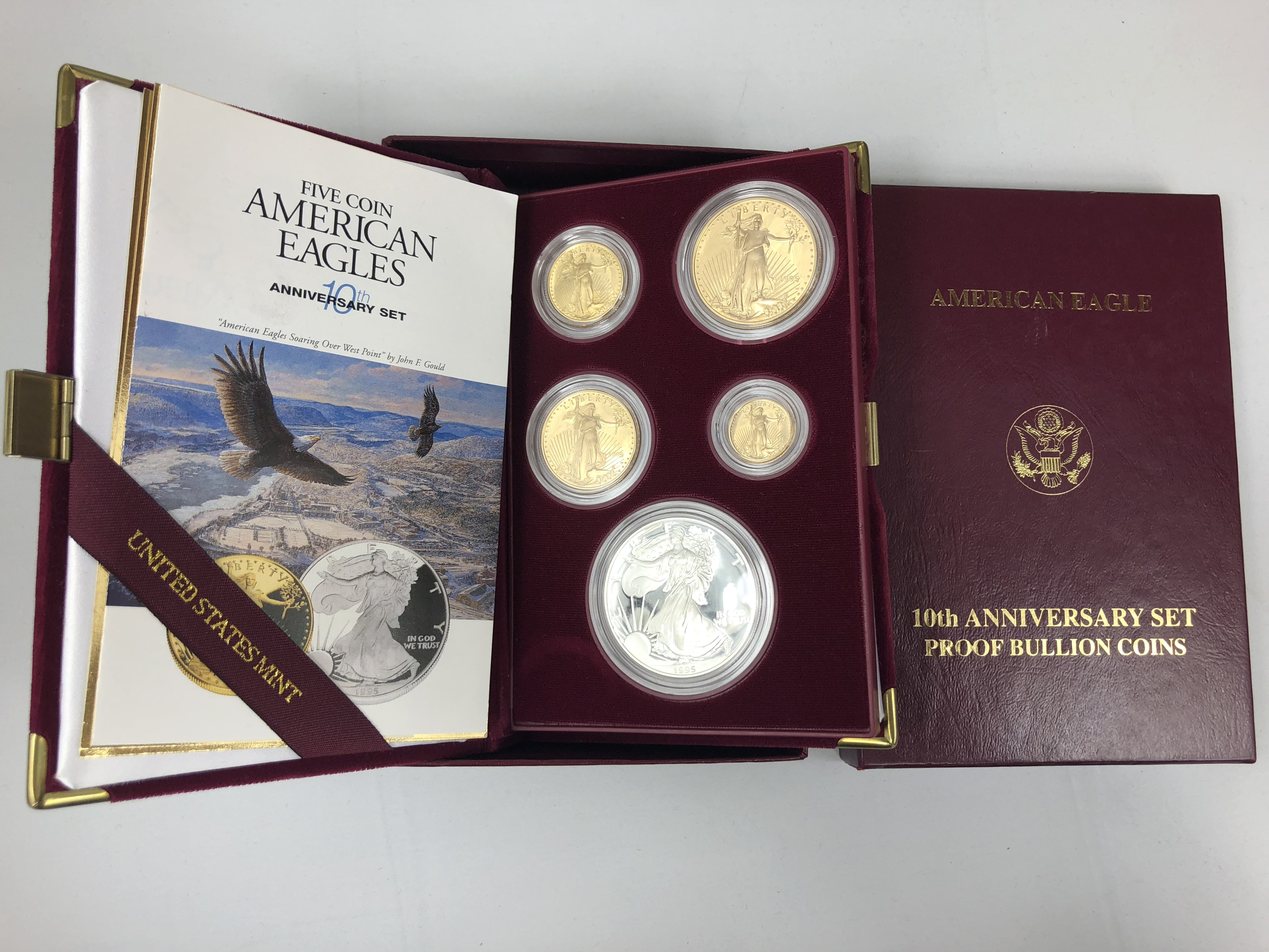 10th Anniversary Set Proof Bullion Coins American Eagle with COA