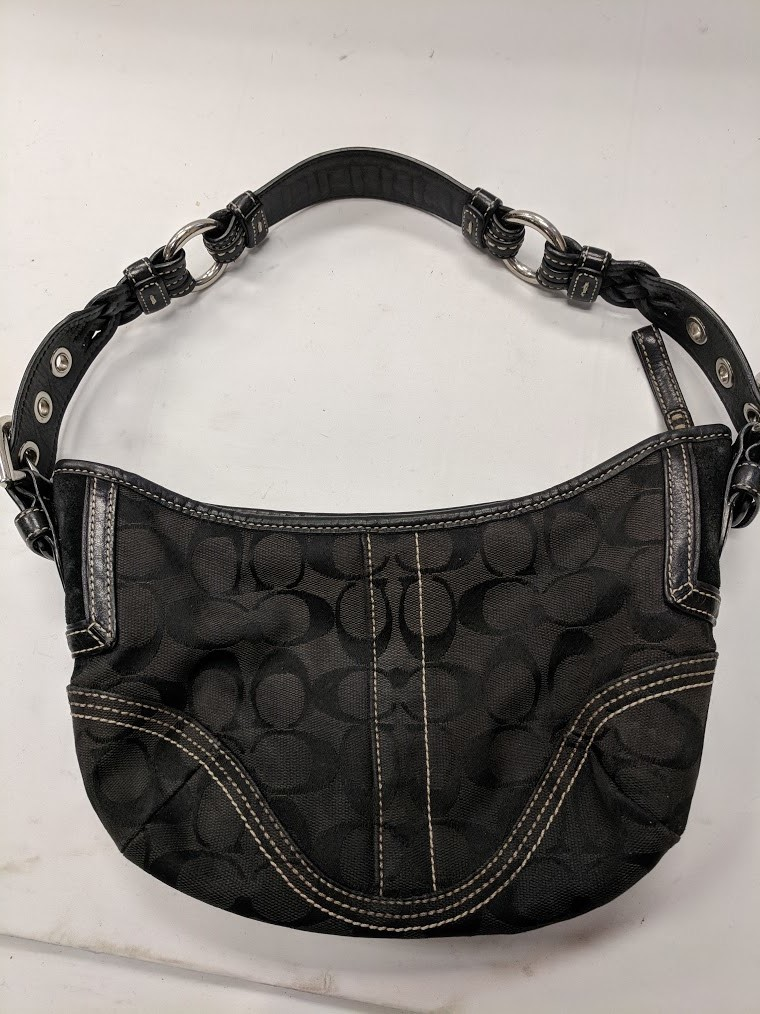 COACH Black Soho Signature Small Hobo Purse #6266