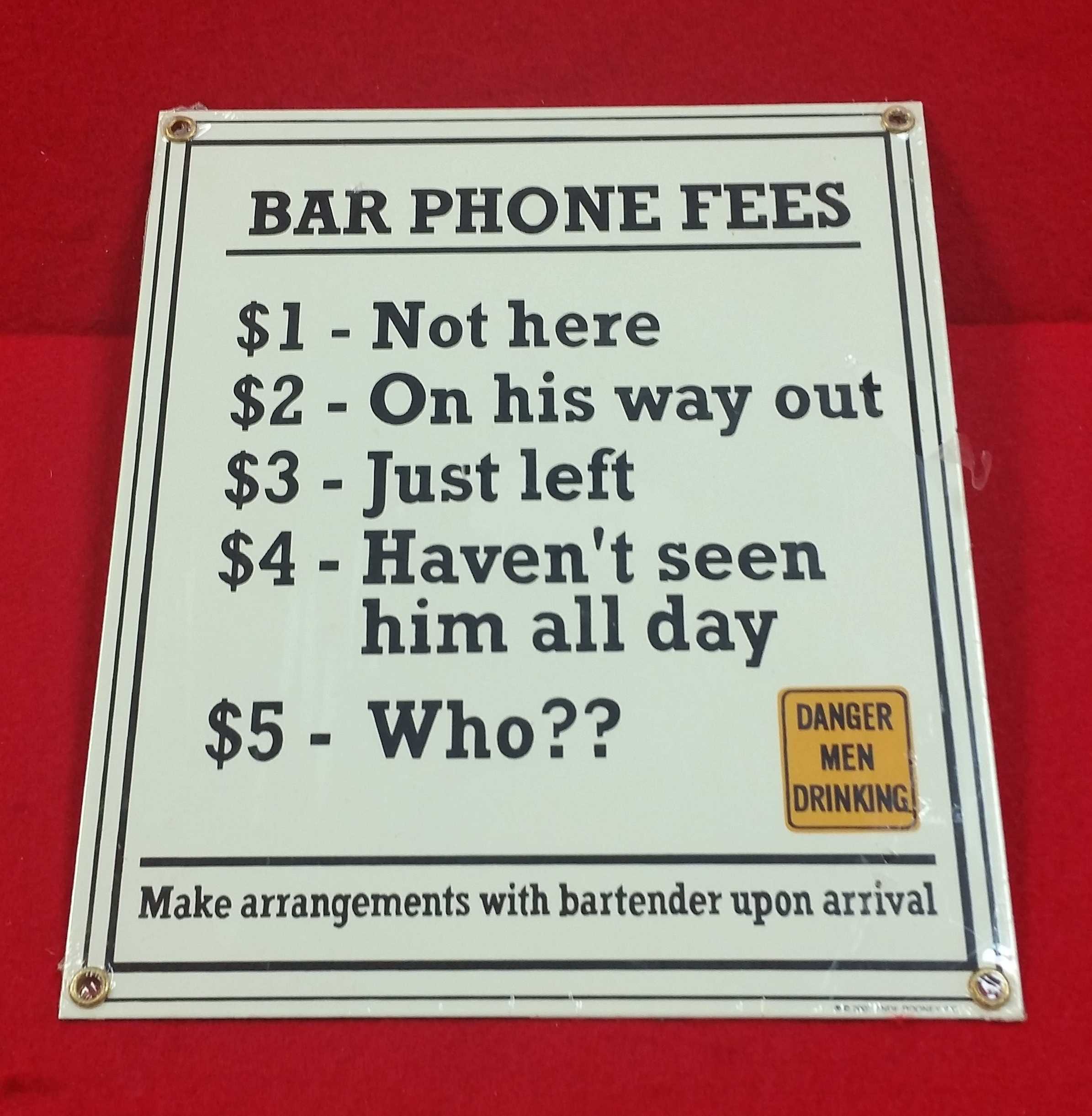 VINTAGE STYLE TIN SIGN - BAR PHONE FEES - SIGN COLLECTIBLES