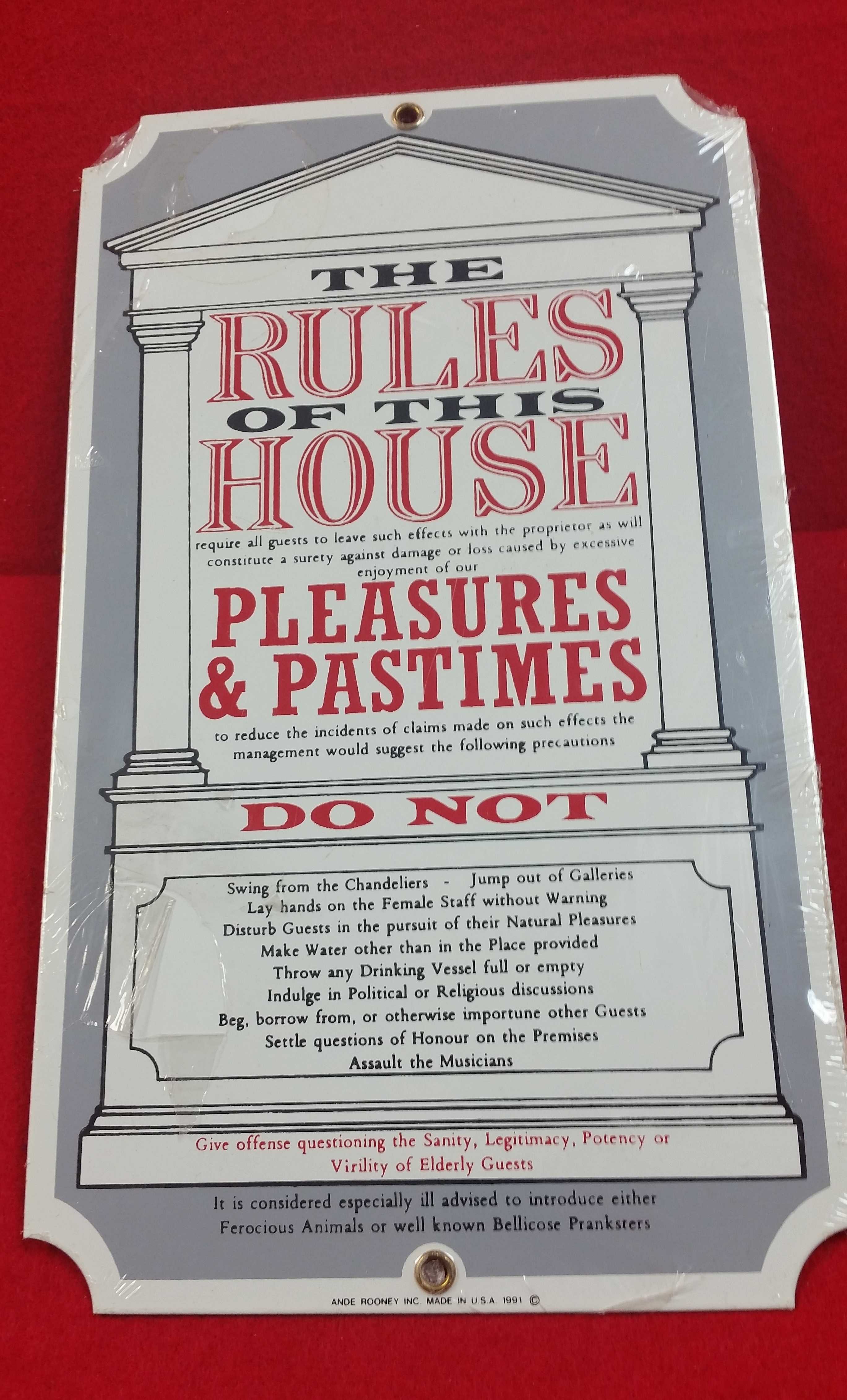 VINTAGE STYLE TIN SIGN - RULES OF THE HOUSE - SIGN COLLECTIBLES