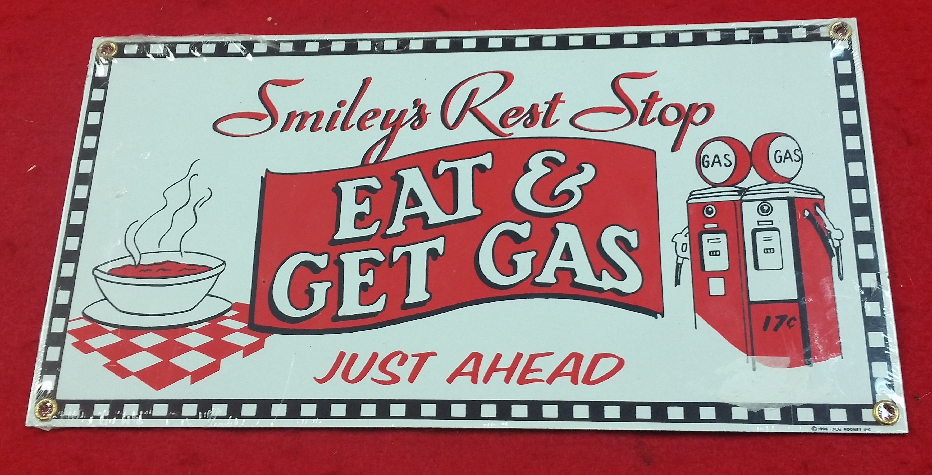 VINTAGE STYLE TIN SIGN - EAT AND GET GAS - SIGN COLLECTIBLES