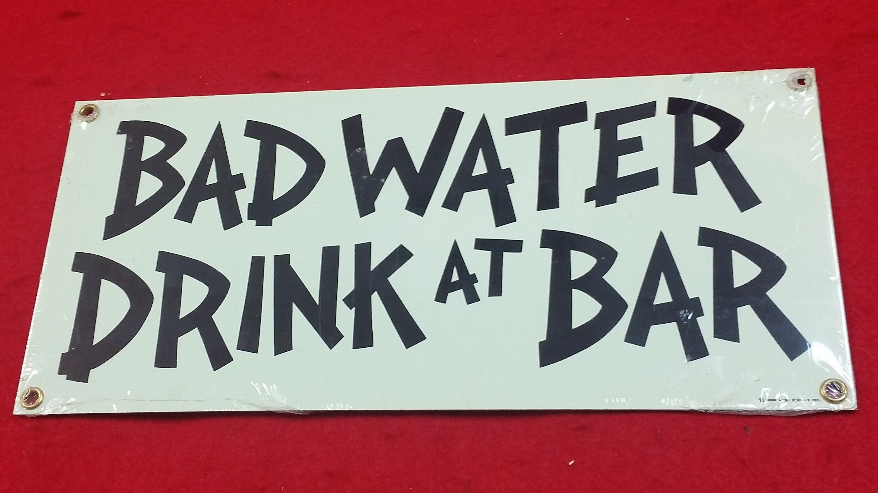 VINTAGE STYLE TIN SIGN - BAD WATER DRINK AT BAR - SIGN COLLECTIBLES