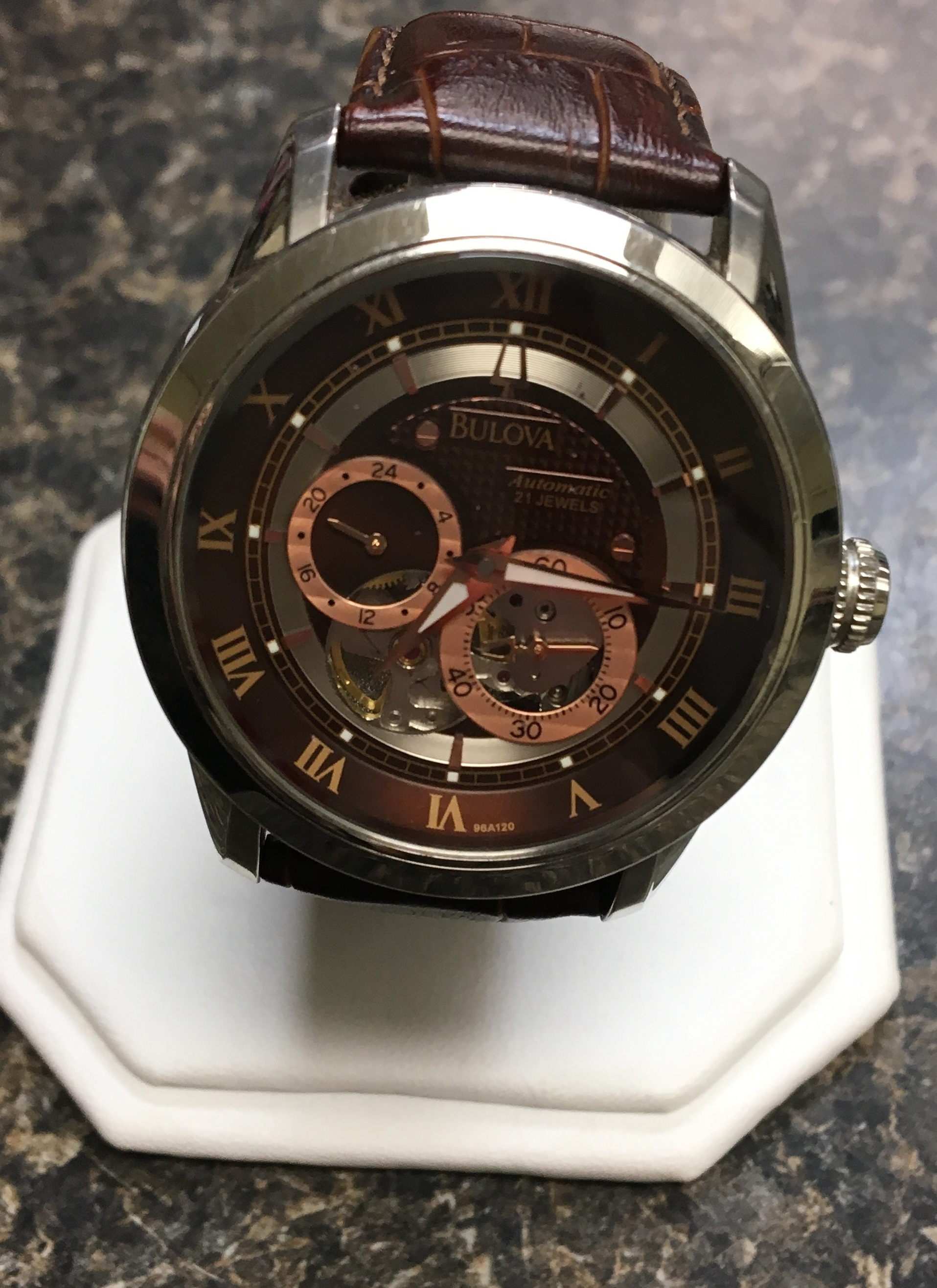 STAINLESS STEEL BULOVA WATCH. 0.01 DWT