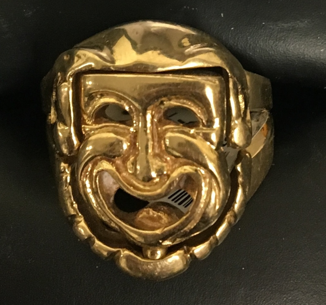 14KT YELLOW GOLD RING W/DRAMA FACE - CHANGES FROM HAPPY TO SAD DWT 9.47 SIZE 8