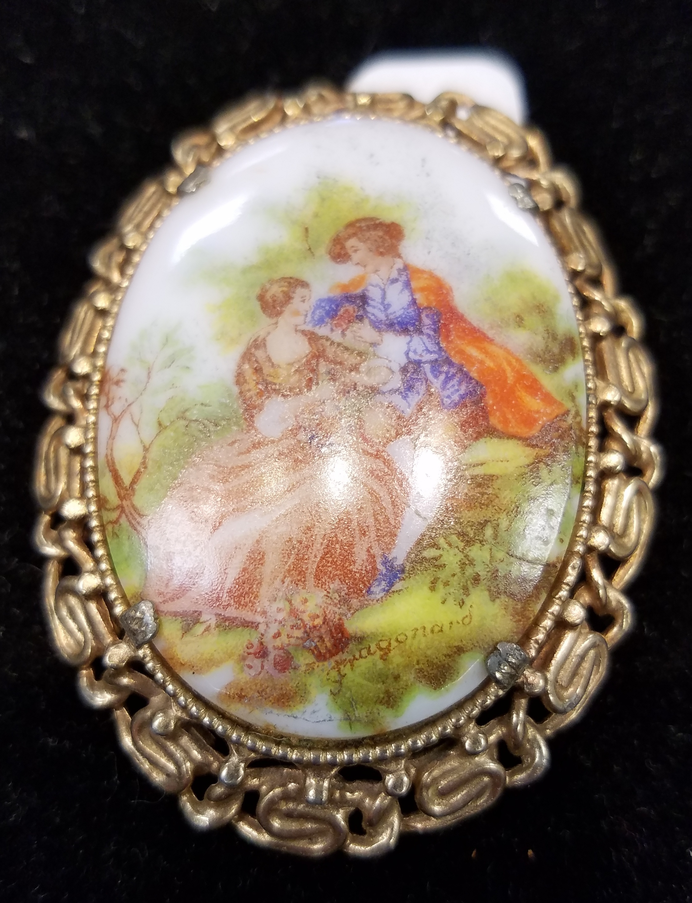 JEWELRY: GOLD PLATED - MAN AND WOMEN IN GARDEN - NANCY SCOTT PIN