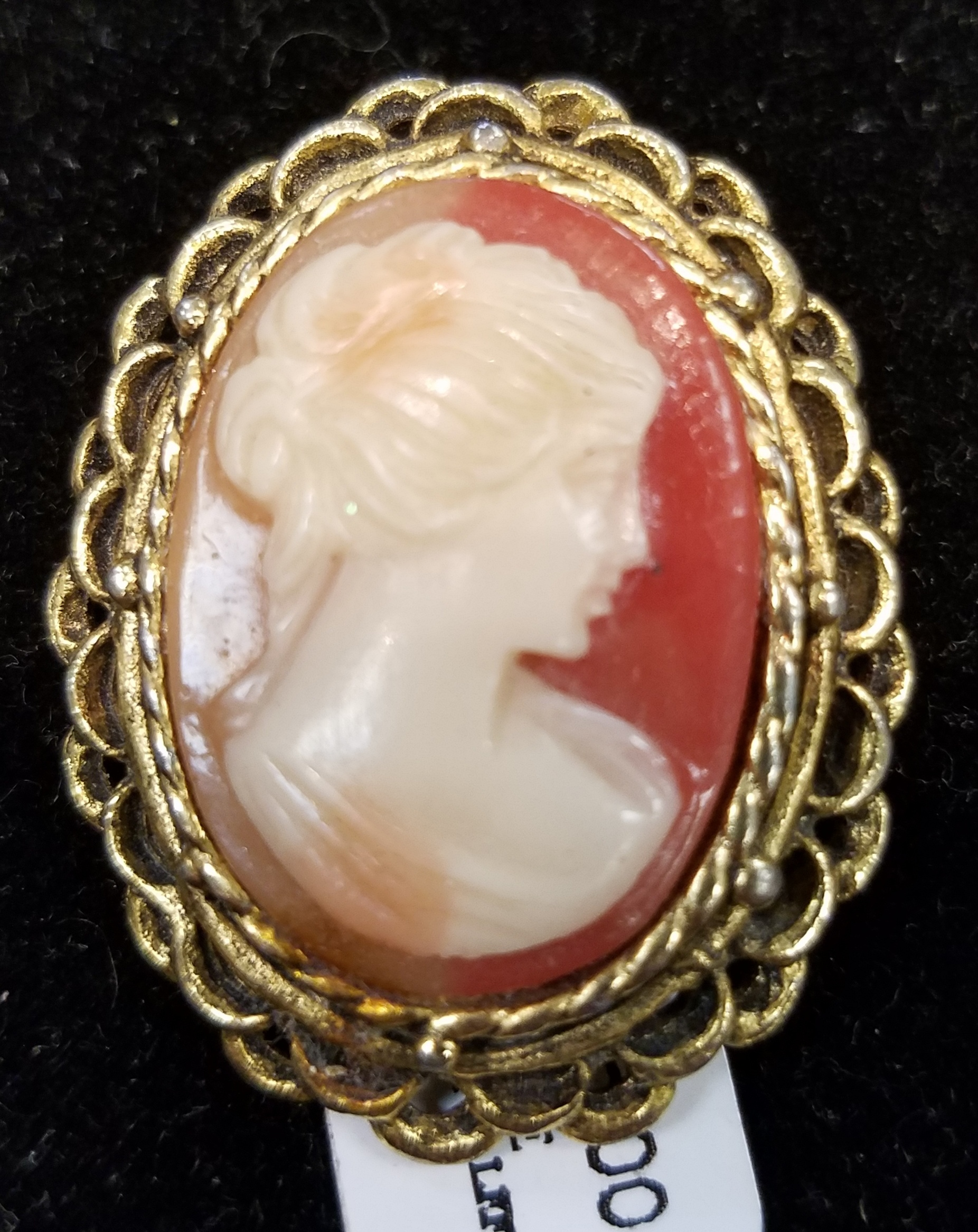 JEWELRY: GOLD PLATE  CAMEO FACING LEFT