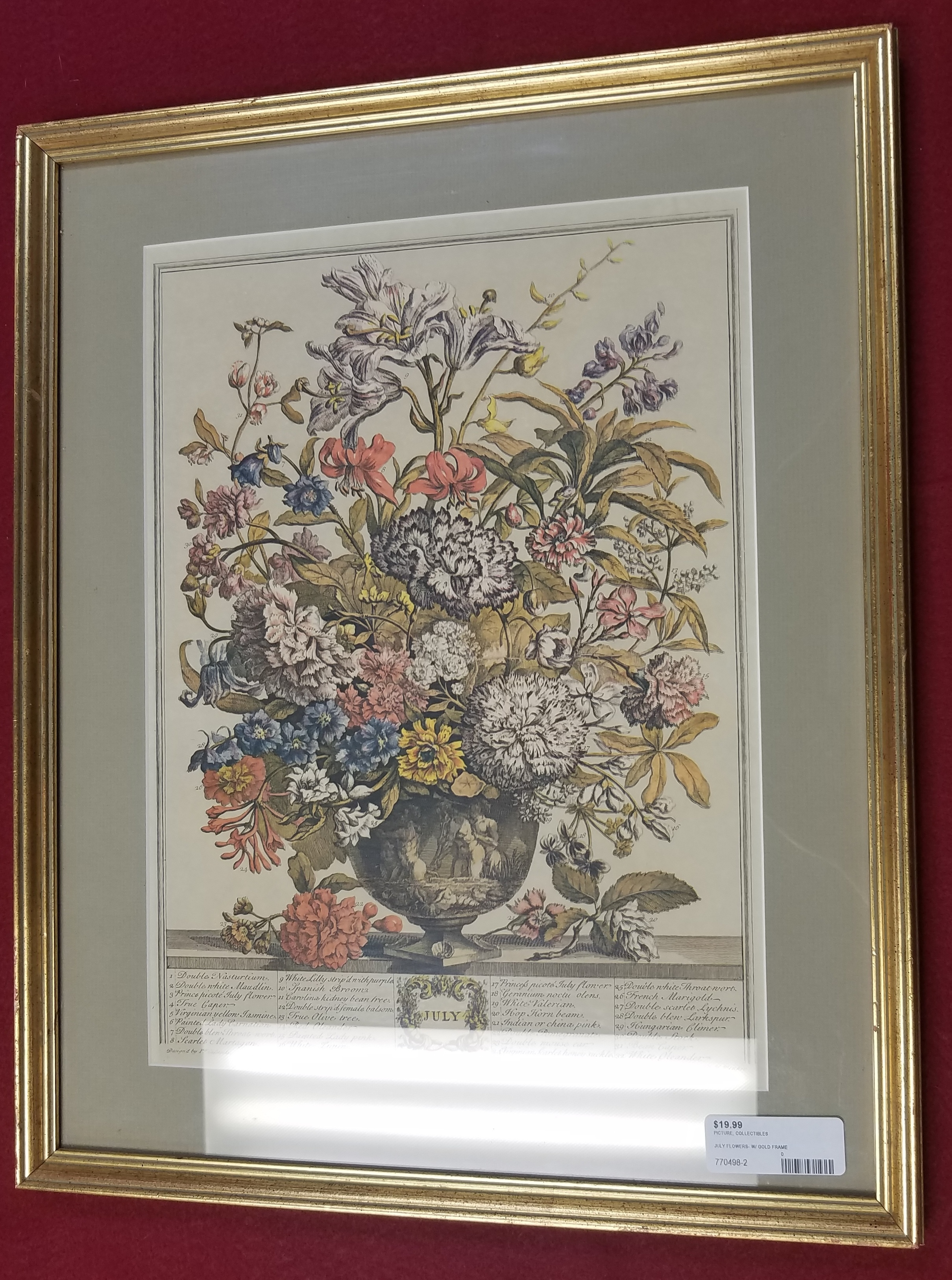 ART/COLLECTIBLES: JULY FLOWERS IN GOLD FRAME