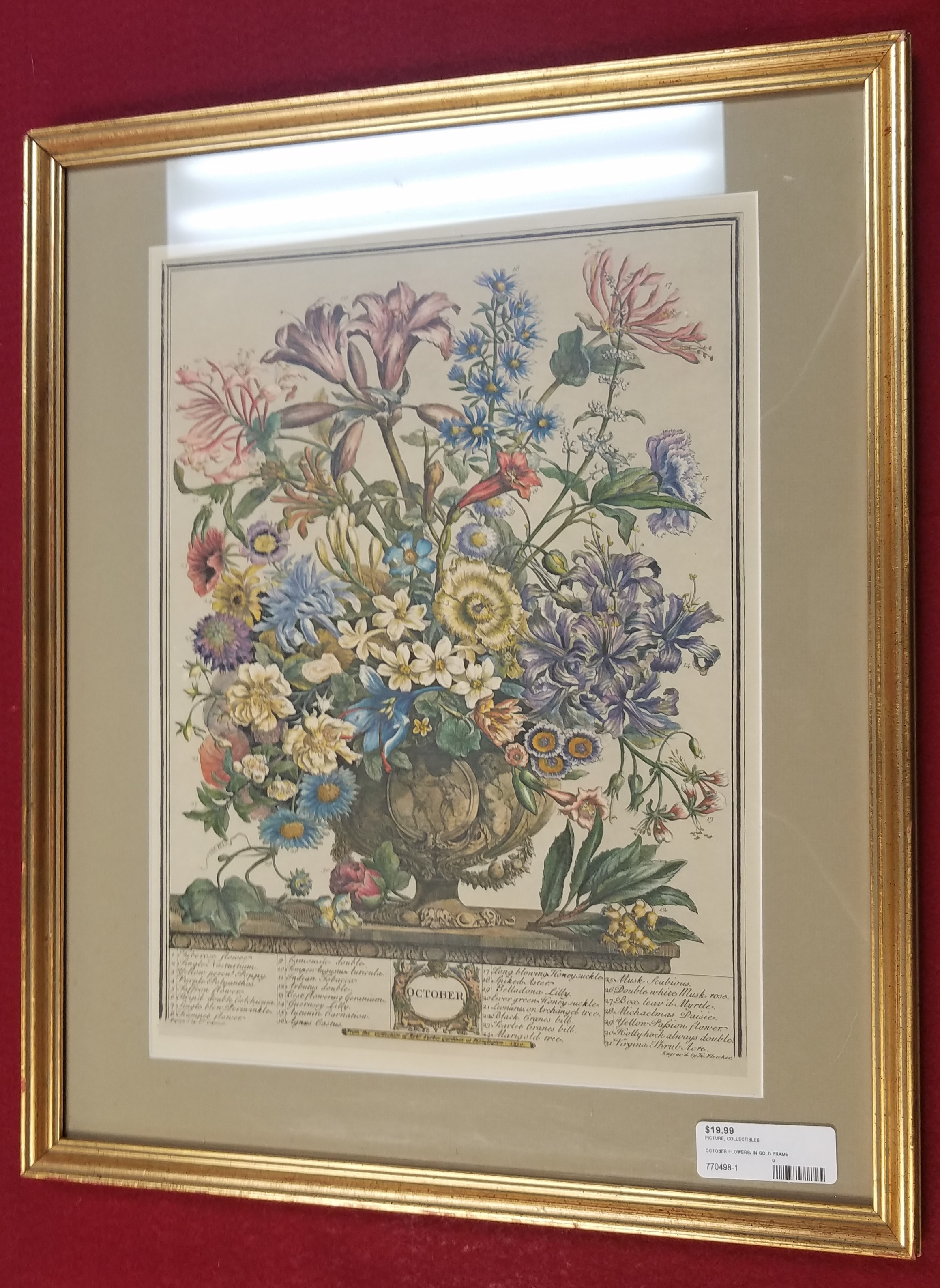 ART/COLLECTIBLES: OCTOBER FLOWERS IN GOLD FRAME