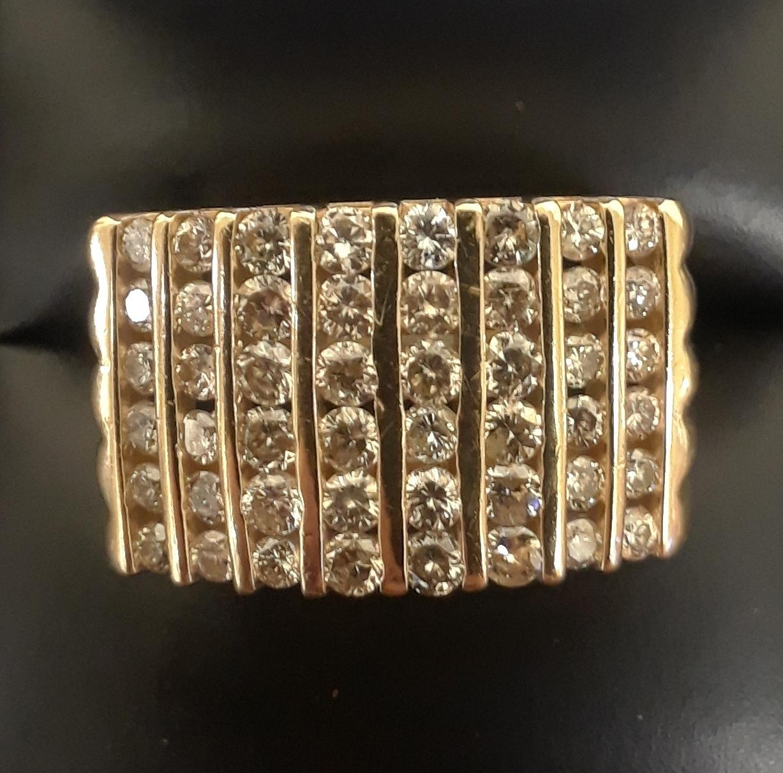 SIZE 12.5 14KT YELLOW GOLD DIAMOND RING