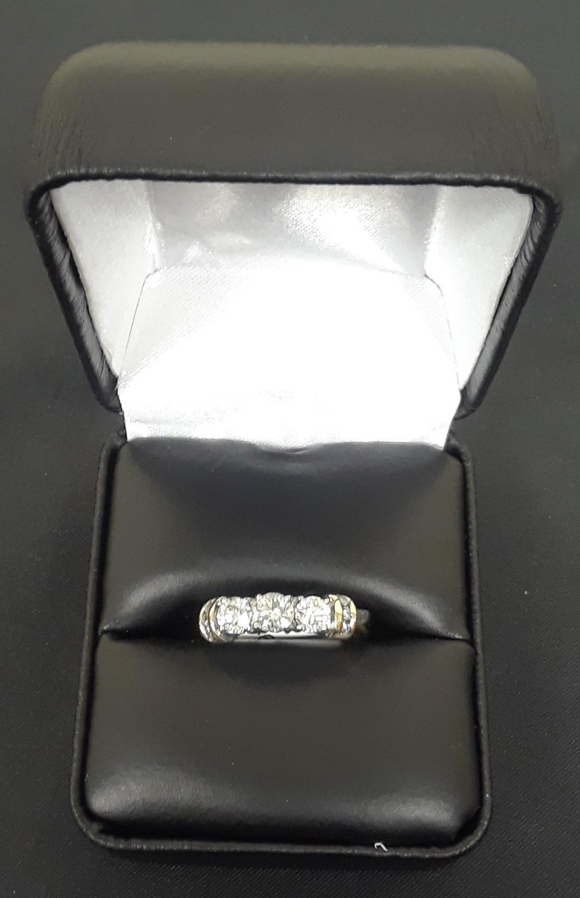 SIZE 7 10KT WHITE GOLD DIAMOND RING