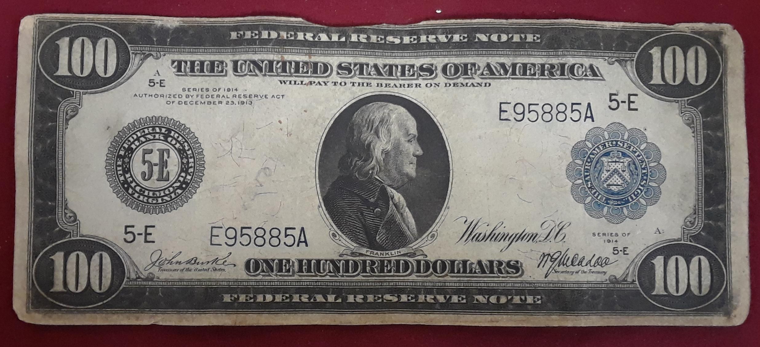 1914 $100 FEDERAL RESERVE NOTE RICHMOND VA 5-E