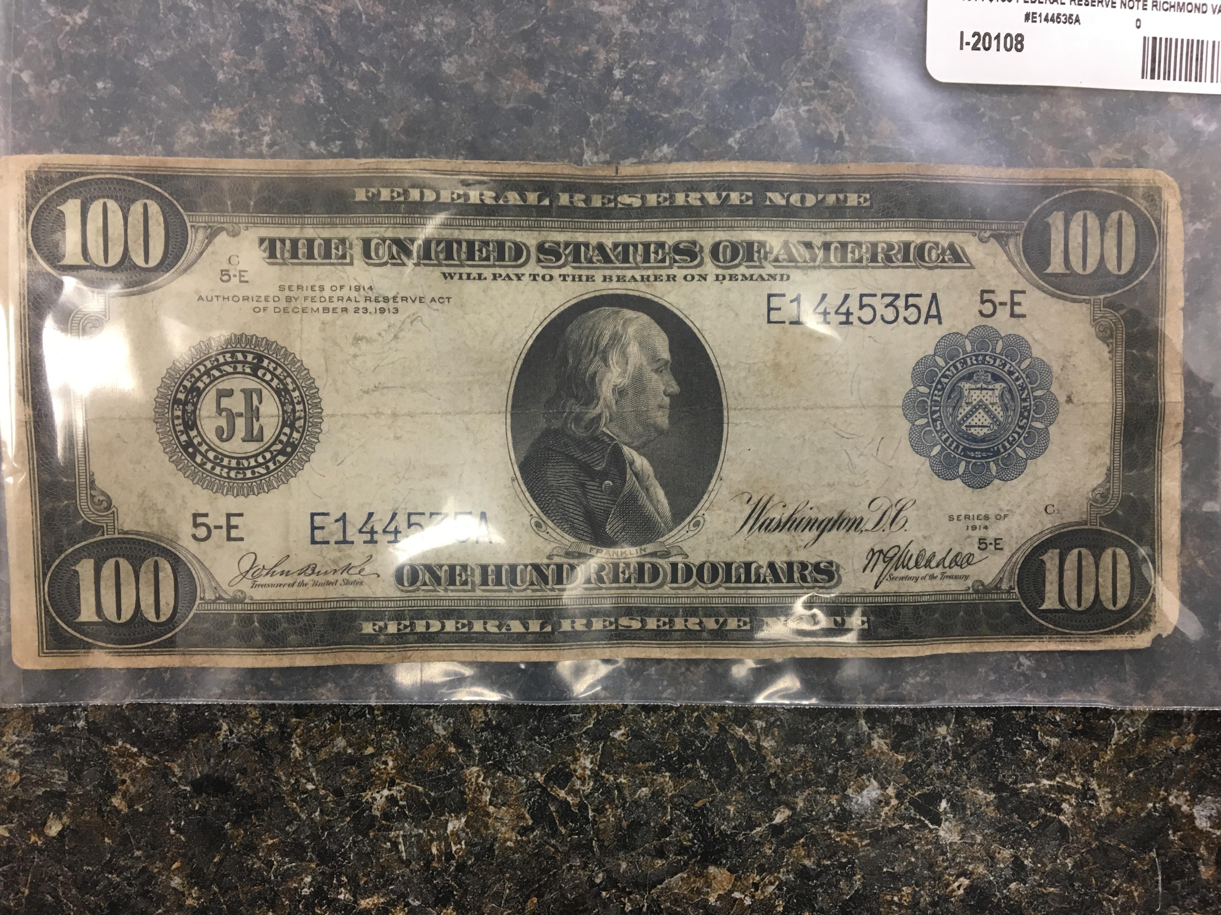 1914 $100 FEDERAL RESERVE NOTE RICHMOND VA-5E