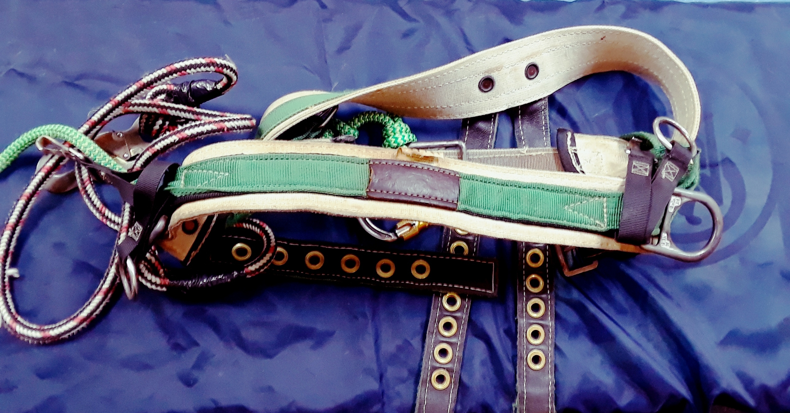 SPORTING EQUIPMENT: CLIMBING BELT - GREEN AND WHITE
