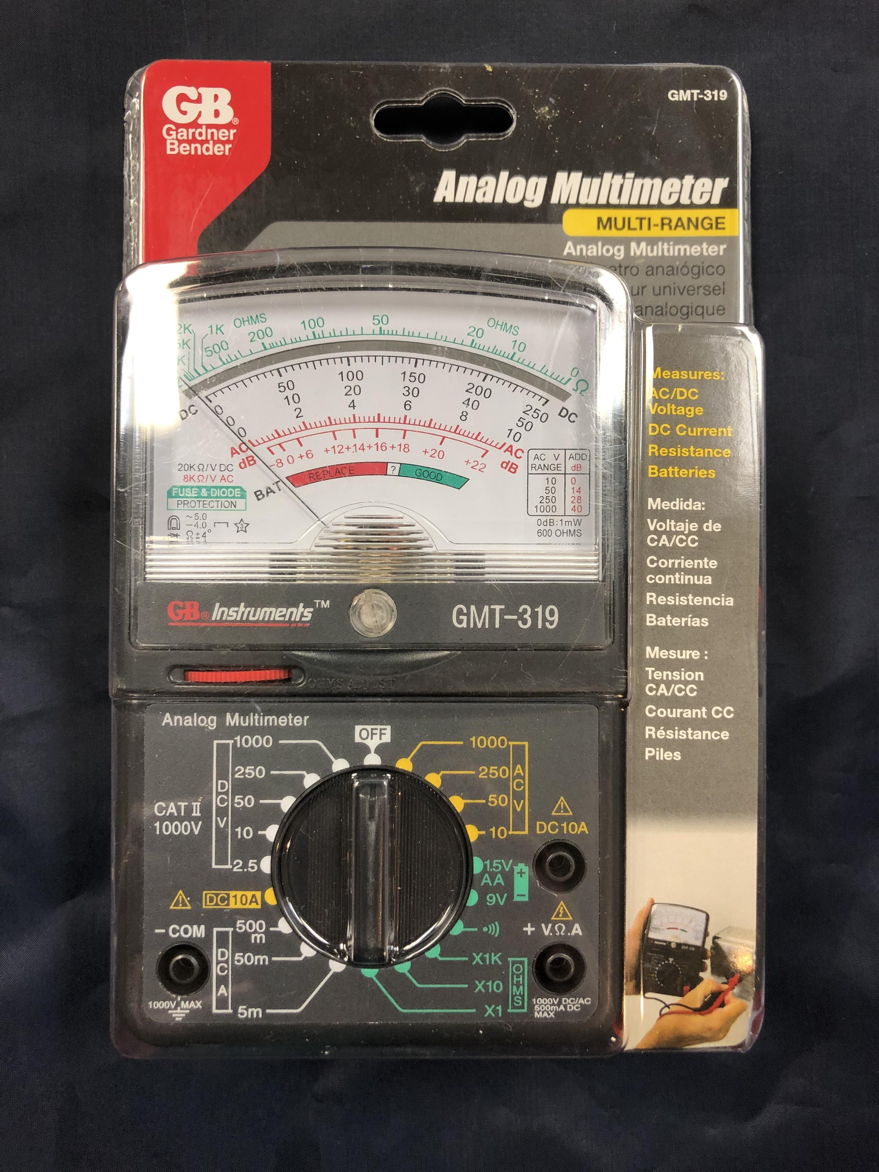 TOOLS: GARDNER BENDER - MULTI-RANGE ANALOG MULTIMETER - GMT-319