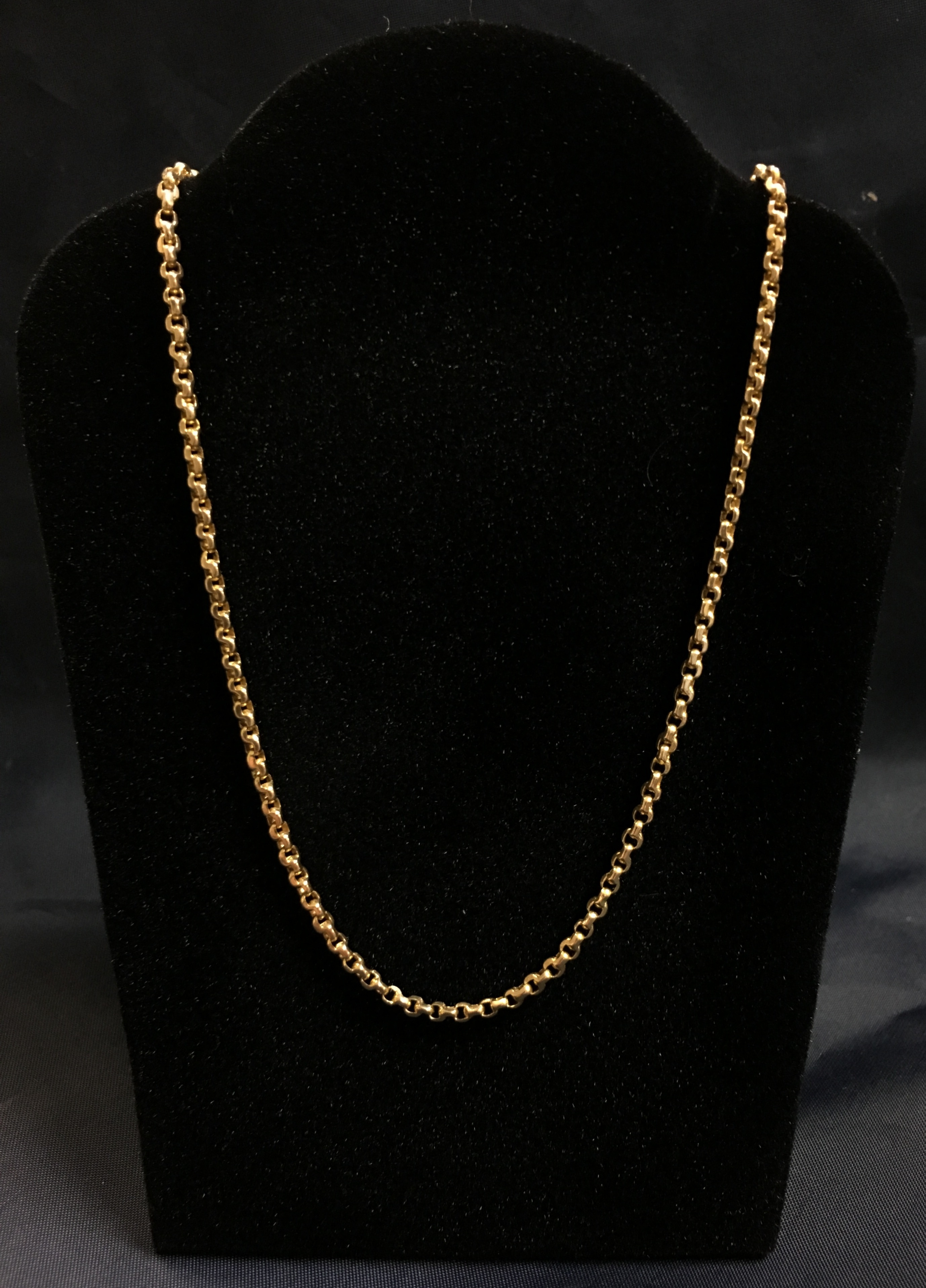 22KT YELLOW GOLD ROLO BOX CHAIN 28