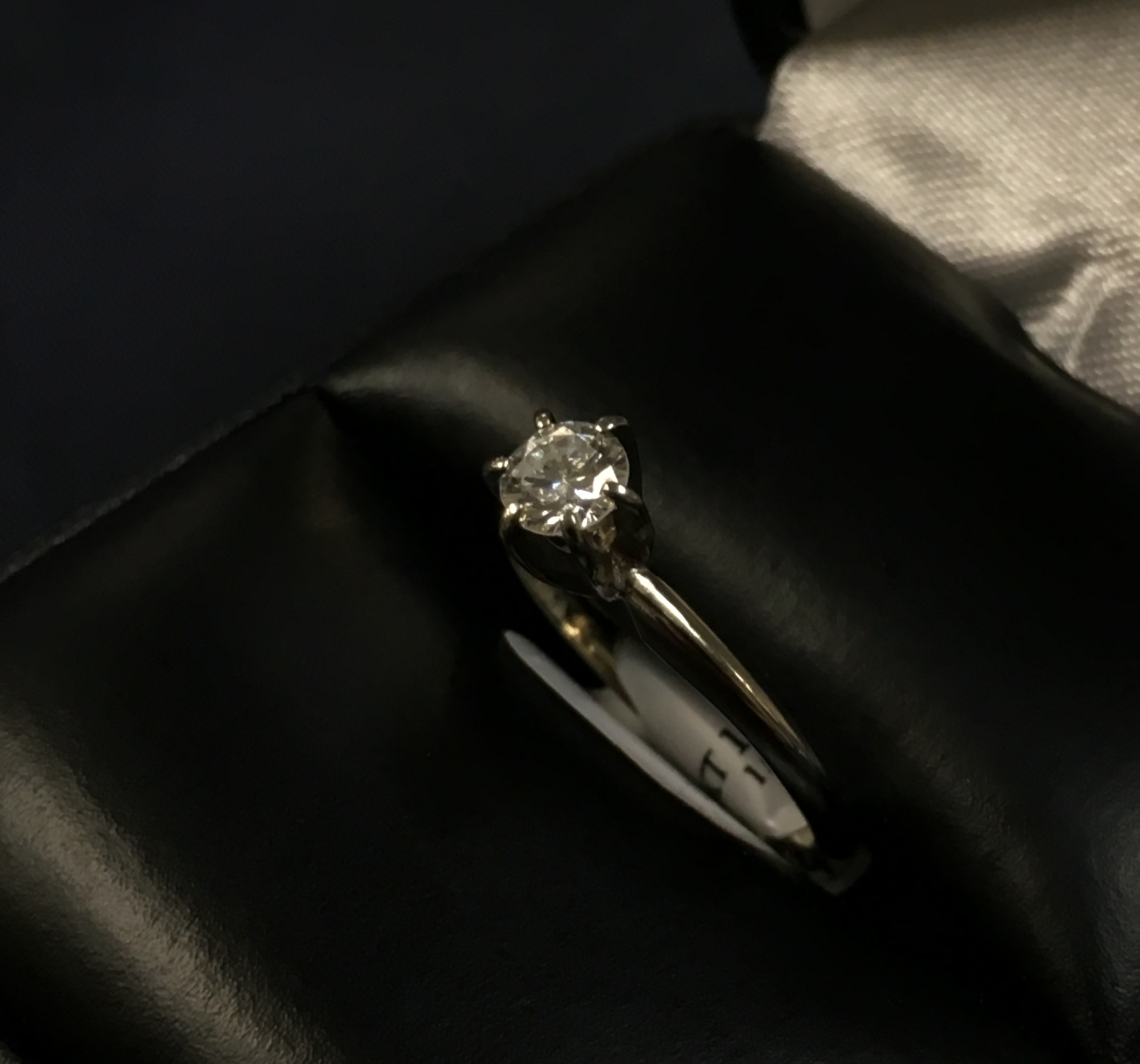 14KT WHITE GOLD RING WITH A APPROX 1/4 SOLITAIRE DIAMOND. SIZE: 5