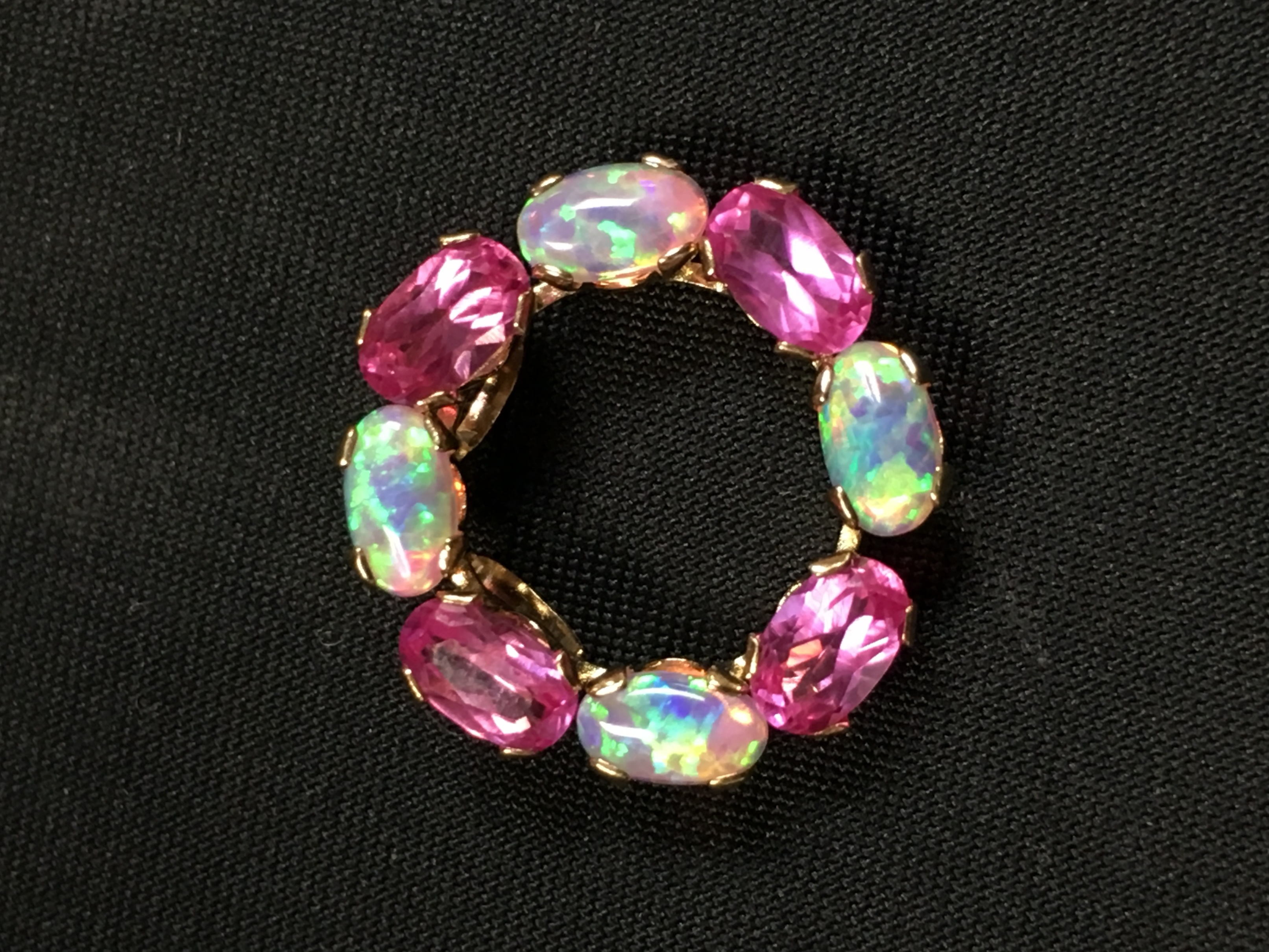 10KT YELLOW GOLD OPAL LIKE STONE AND PINK STONE CHARM