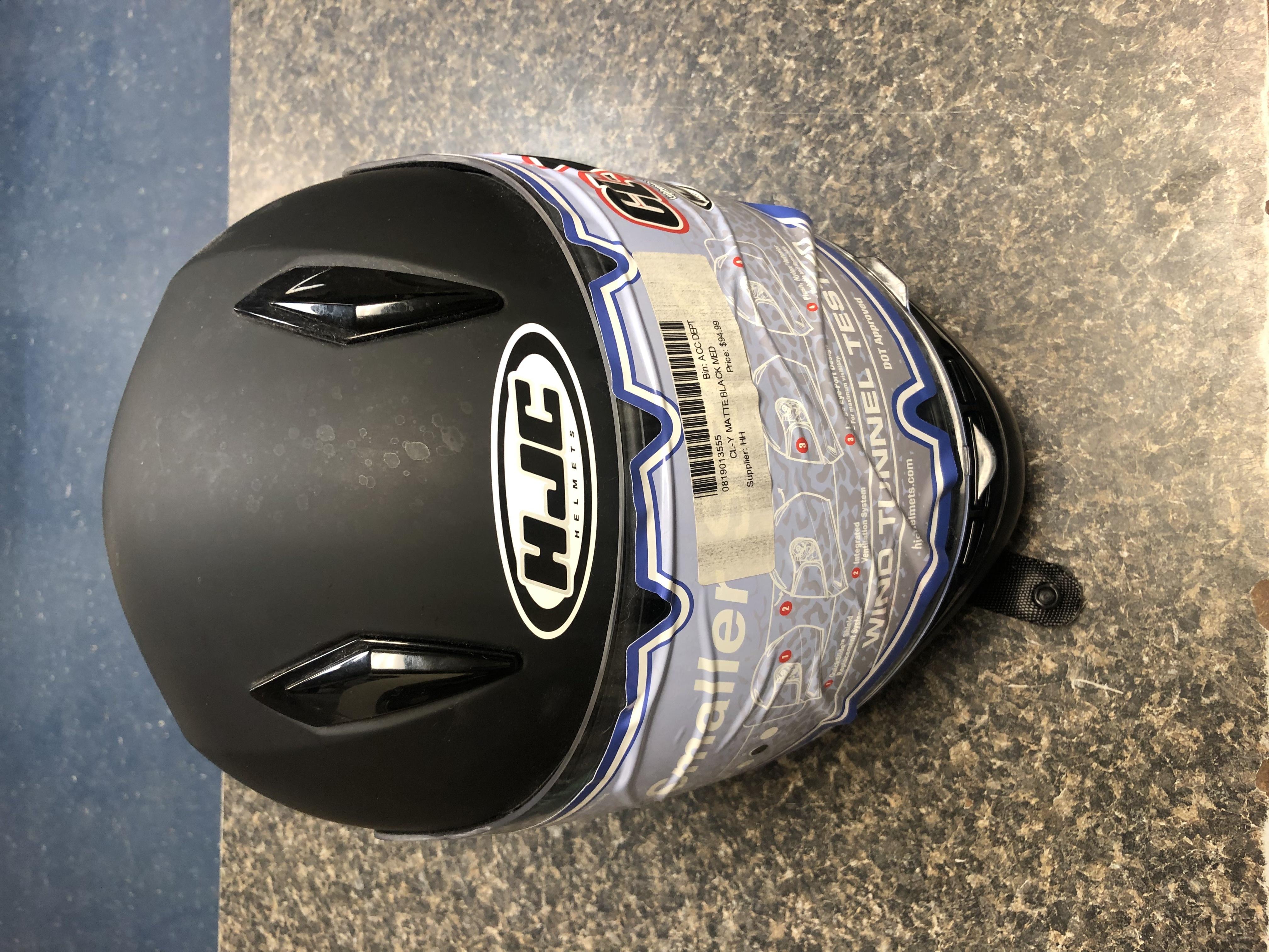 SPORTING EQUIPMENT: HJC - BLACK MOTORCYCLE HELMET SIZE M - CL-Y