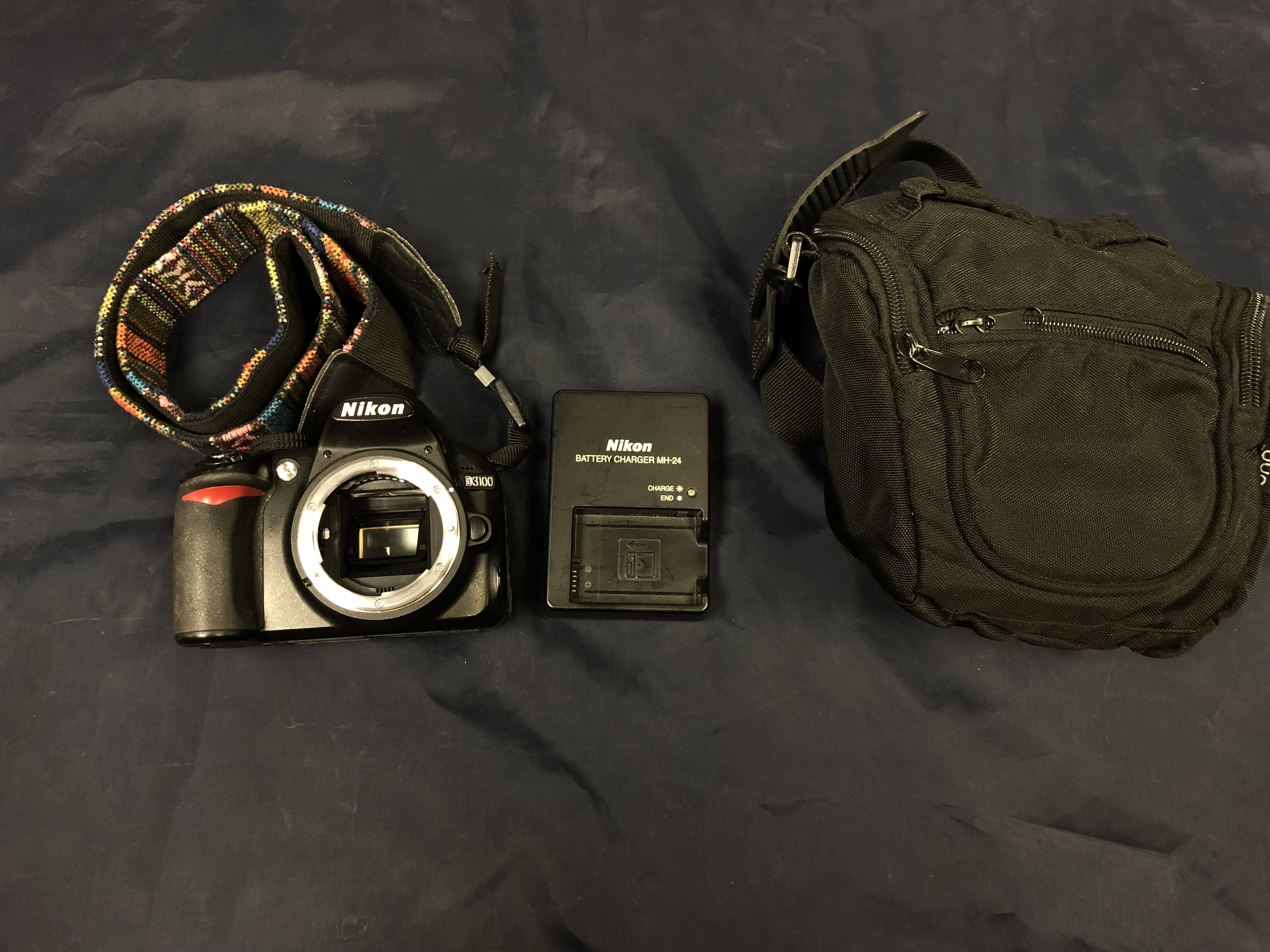 NIKON D3100 W/ MULTI-COLORED STRAP CHARGER AND CASE - D3100