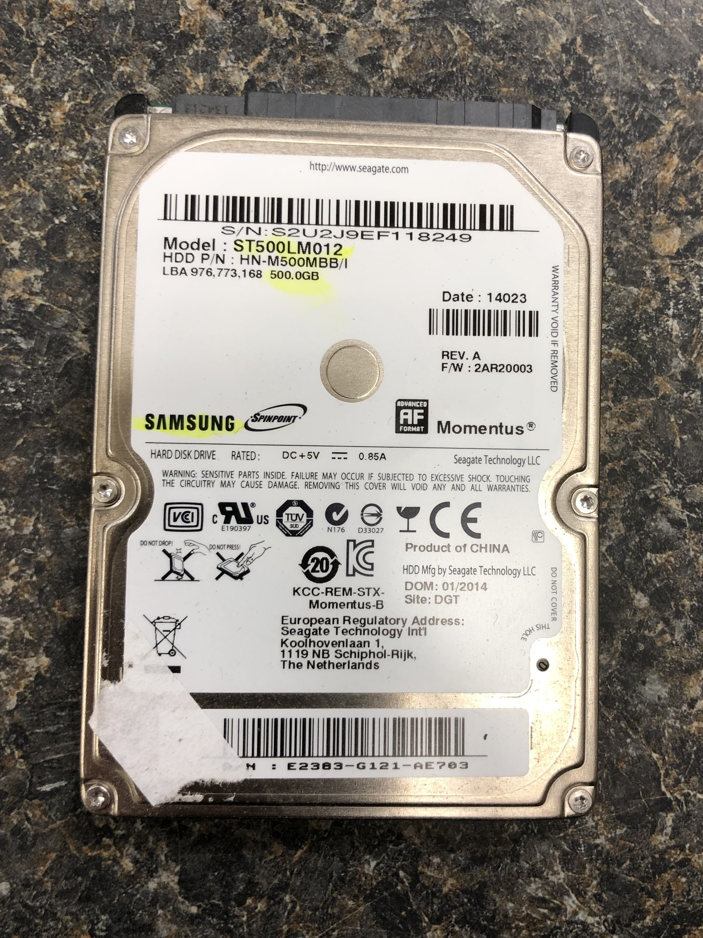 SAMSUNG Spinpoint 500GB HARD DRIVE BARE DRIVE